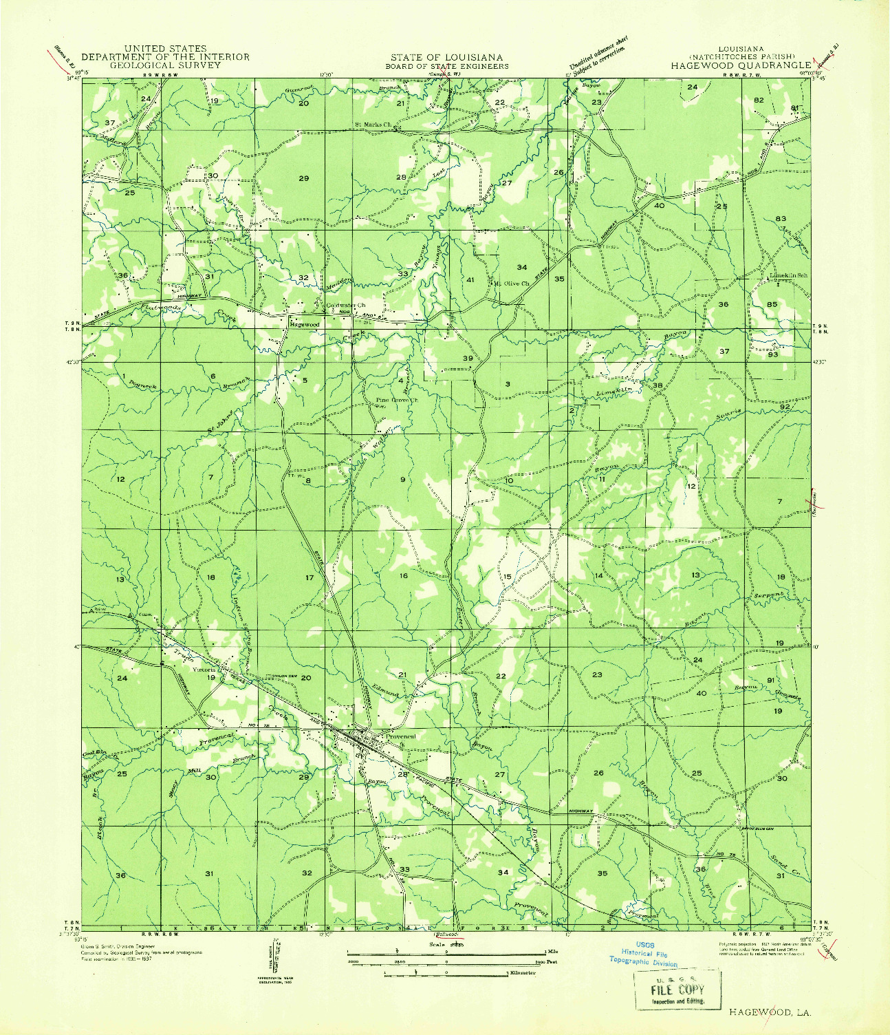 USGS 1:31680-SCALE QUADRANGLE FOR HAGEWOOD, LA 1935