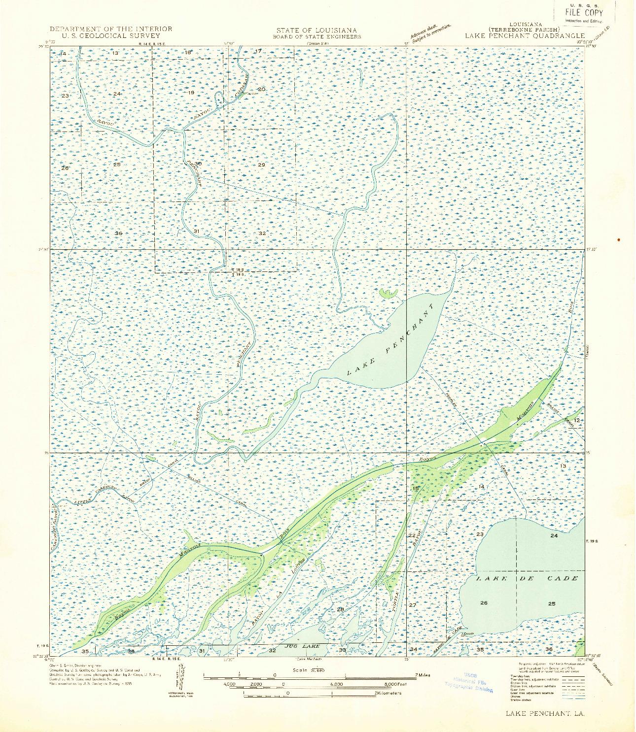USGS 1:31680-SCALE QUADRANGLE FOR LAKE PENCHANT, LA 1935