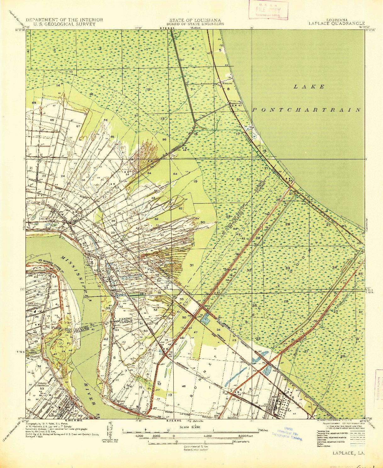 USGS 1:31680-SCALE QUADRANGLE FOR LAPLACE, LA 1935