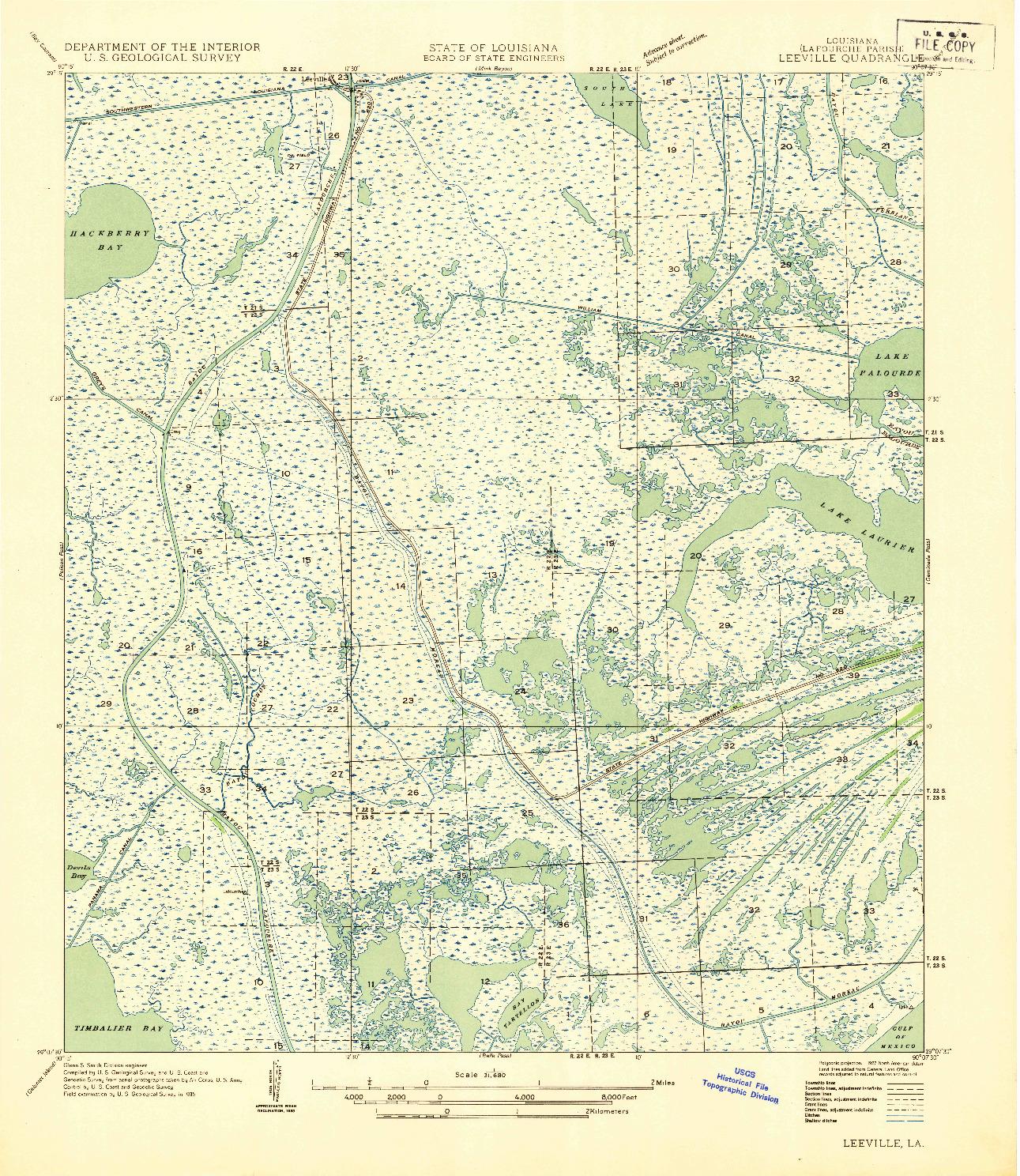 USGS 1:31680-SCALE QUADRANGLE FOR LEEVILLE, LA 1935