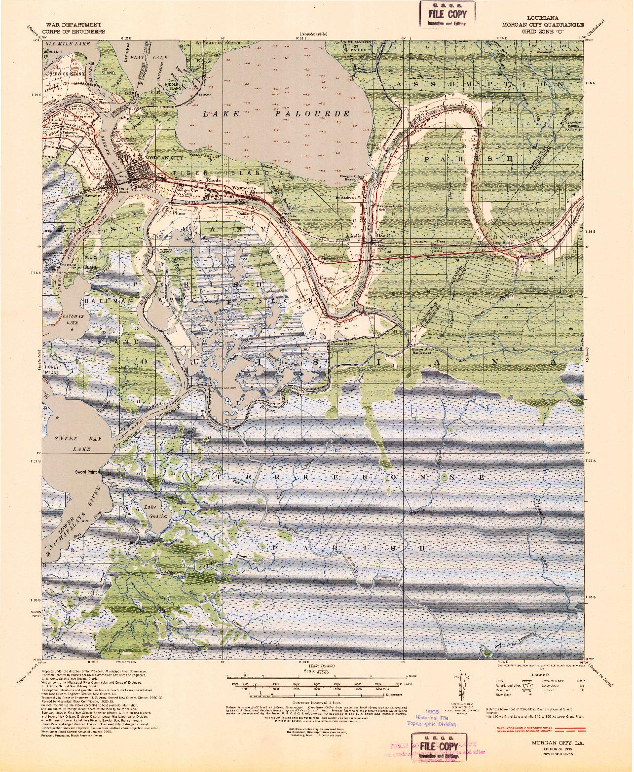 USGS 1:62500-SCALE QUADRANGLE FOR MORGAN CITY, LA 1935