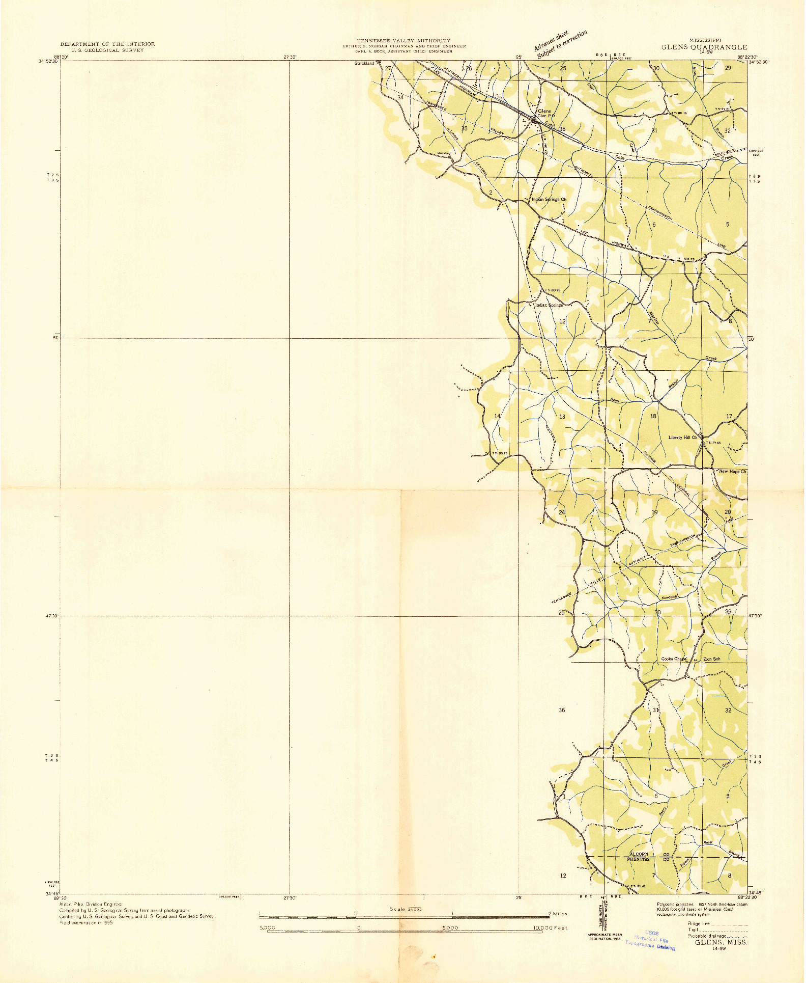 USGS 1:24000-SCALE QUADRANGLE FOR GLENS, MS 1935
