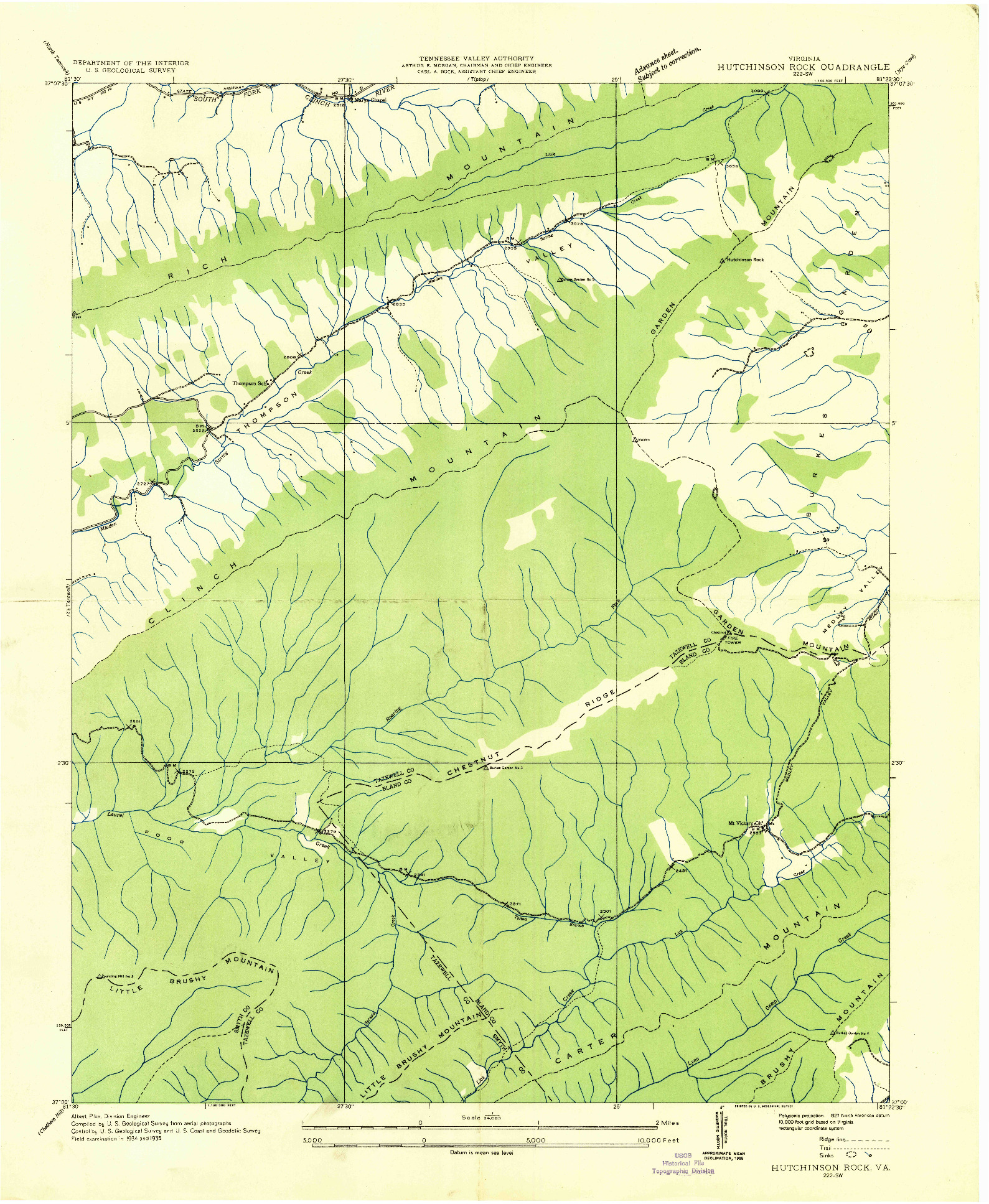 USGS 1:24000-SCALE QUADRANGLE FOR HUTCHINSON ROCK, VA 1935