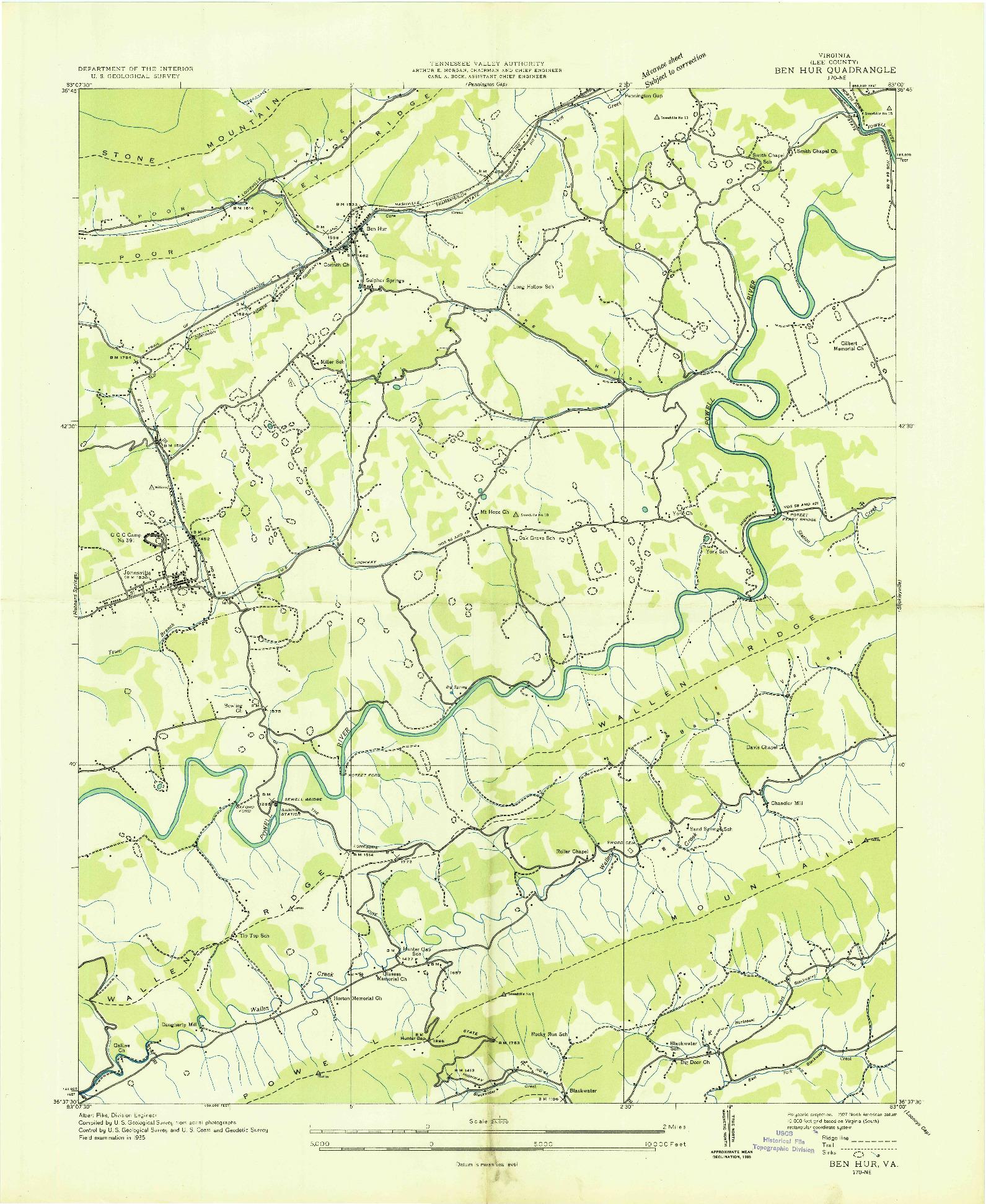 USGS 1:24000-SCALE QUADRANGLE FOR BEN HUR, VA 1935