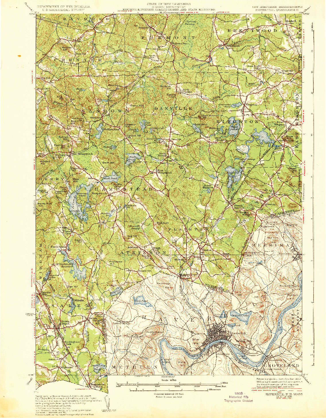 USGS 1:62500-SCALE QUADRANGLE FOR HAVERHILL, MA 1935