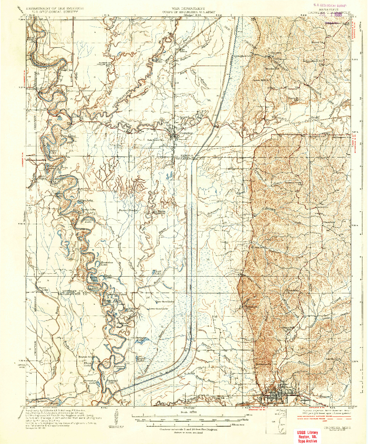 USGS 1:62500-SCALE QUADRANGLE FOR CROWDER, MS 1935