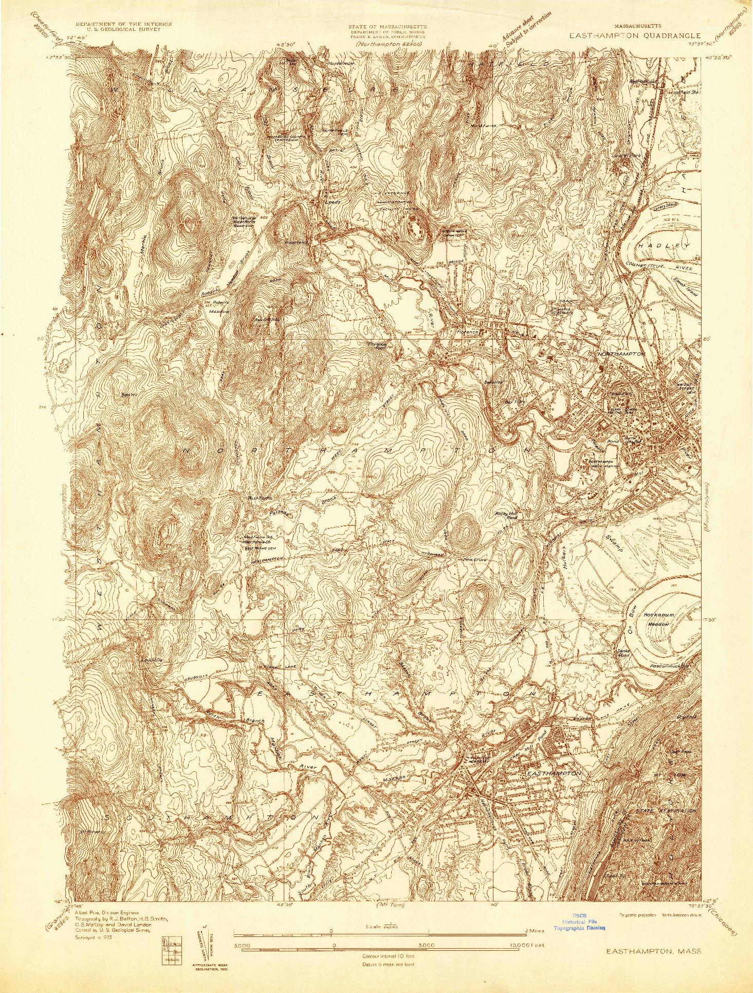 USGS 1:24000-SCALE QUADRANGLE FOR EASTHAMPTON, MA 1935