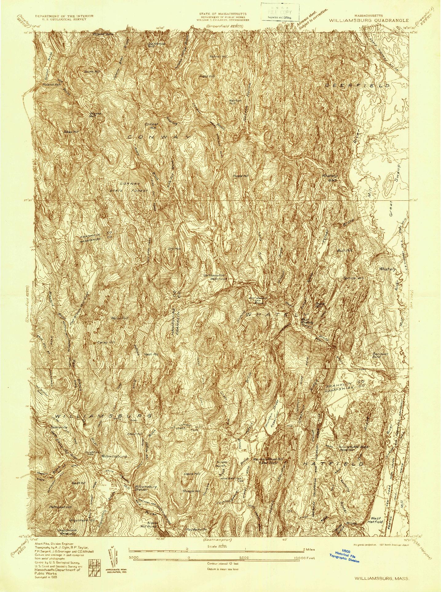USGS 1:24000-SCALE QUADRANGLE FOR WILLIAMSBURG, MA 1935