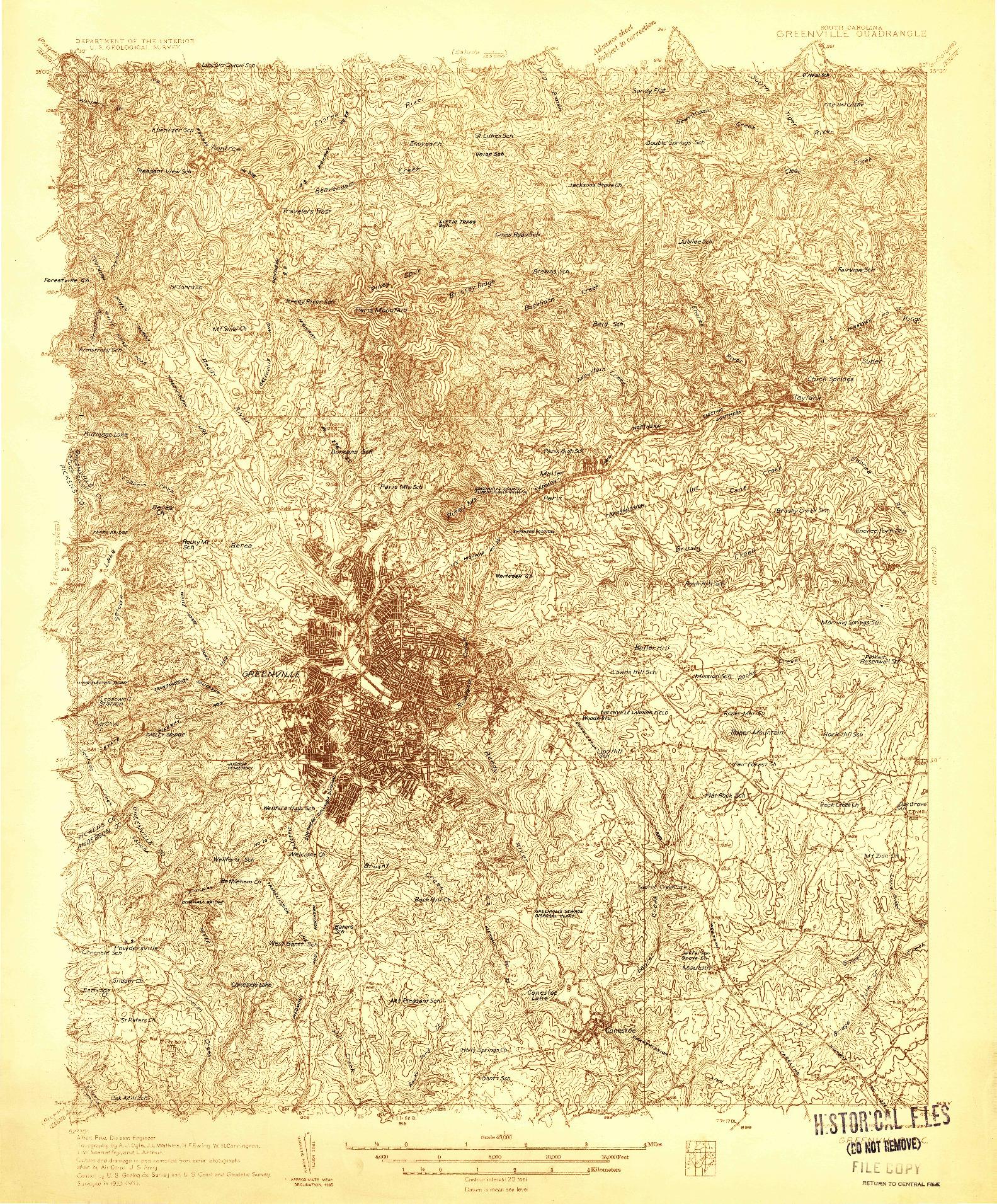 USGS 1:48000-SCALE QUADRANGLE FOR GREENVILLE, SC 1935