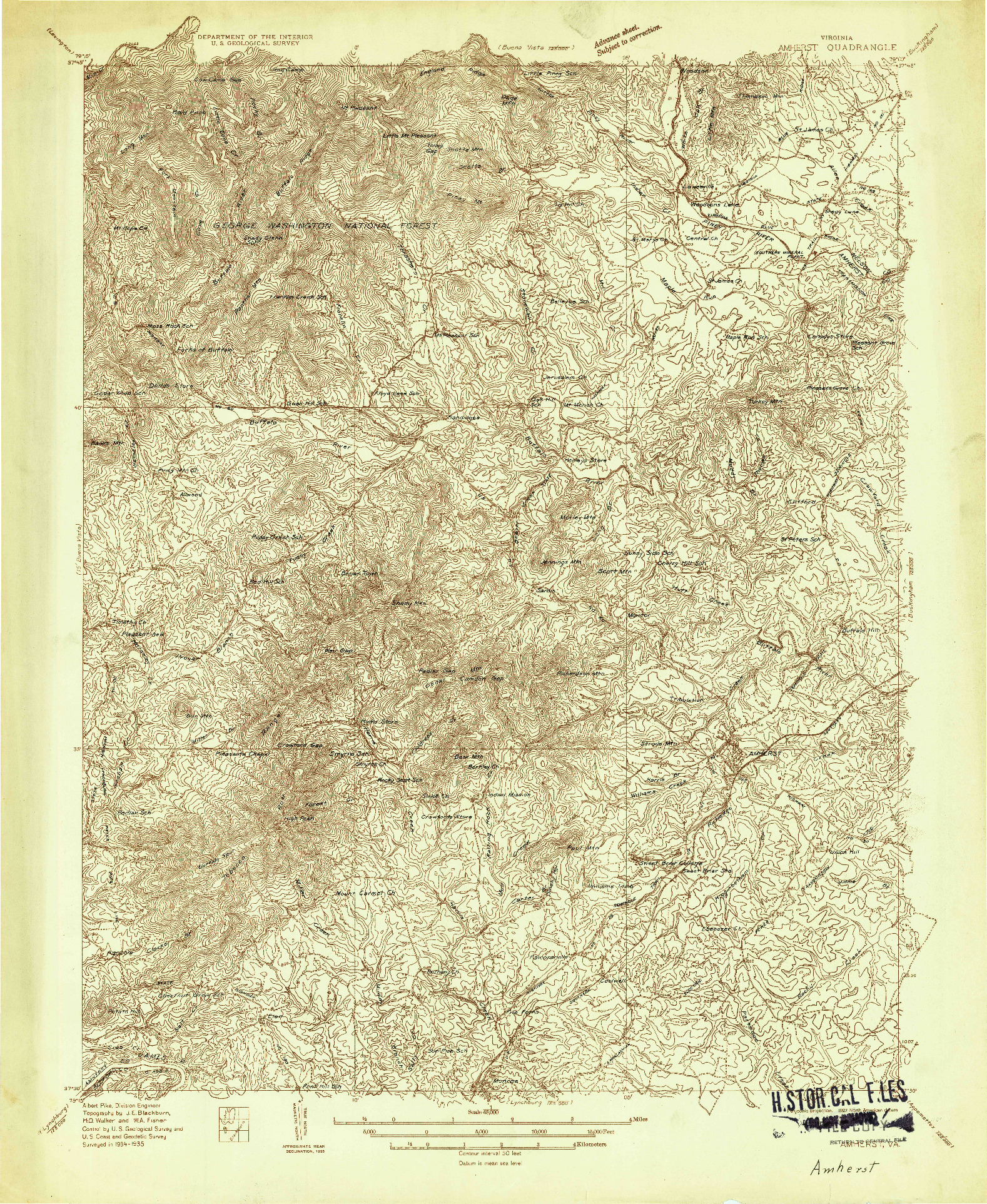 USGS 1:48000-SCALE QUADRANGLE FOR AMHERST, VA 1935