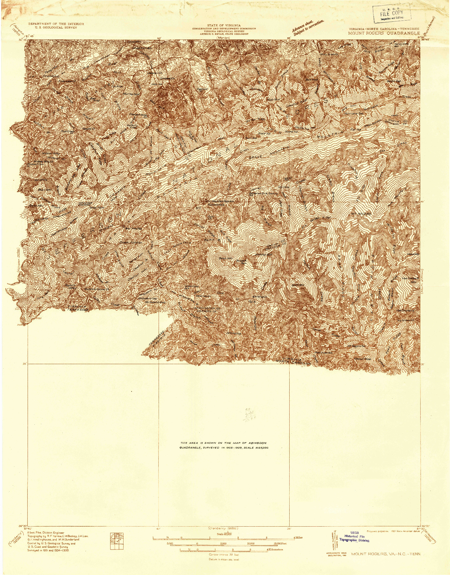 USGS 1:48000-SCALE QUADRANGLE FOR MOUNT ROGERS, VA 1935