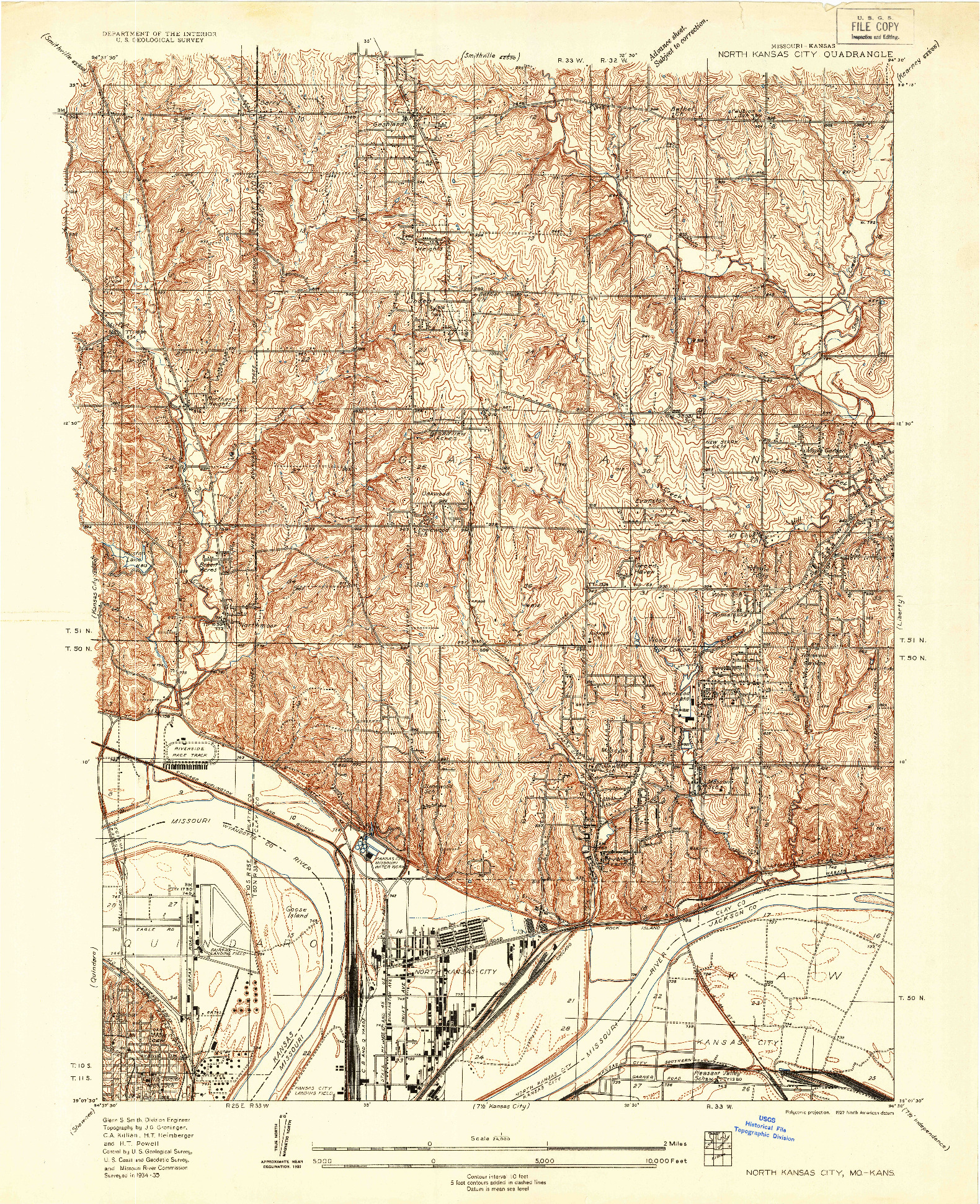 USGS 1:24000-SCALE QUADRANGLE FOR NORTH KANSAS CITY, MO 1935
