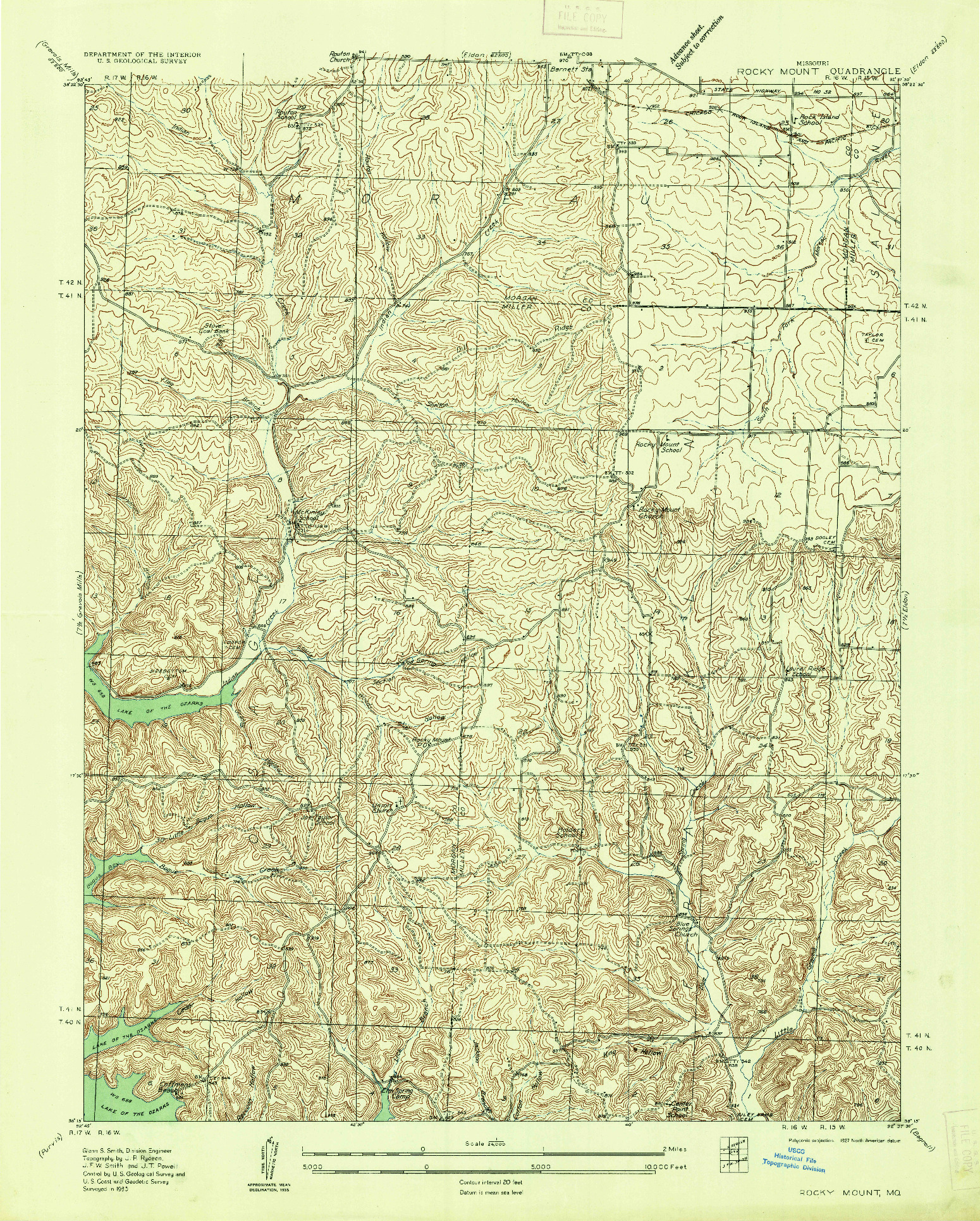 USGS 1:24000-SCALE QUADRANGLE FOR ROCKY MOUNT, MO 1935
