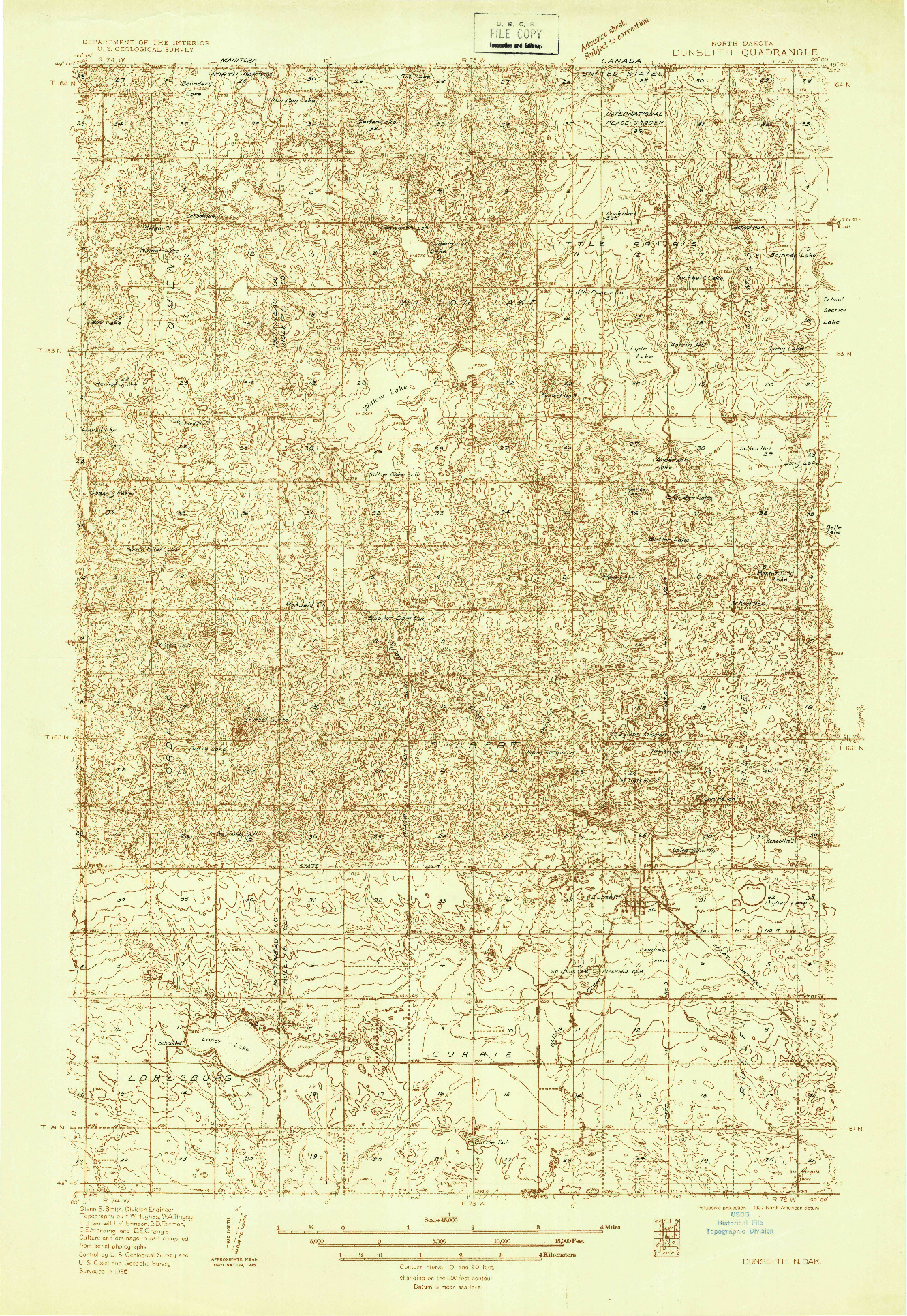 USGS 1:48000-SCALE QUADRANGLE FOR DUNSEITH, ND 1935