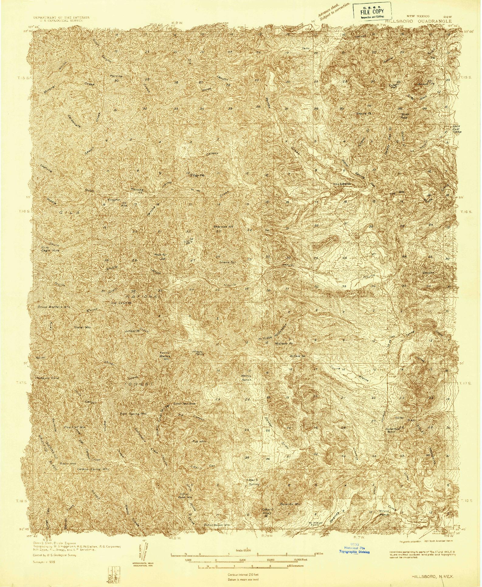 USGS 1:48000-SCALE QUADRANGLE FOR HILLSBORO, NM 1935