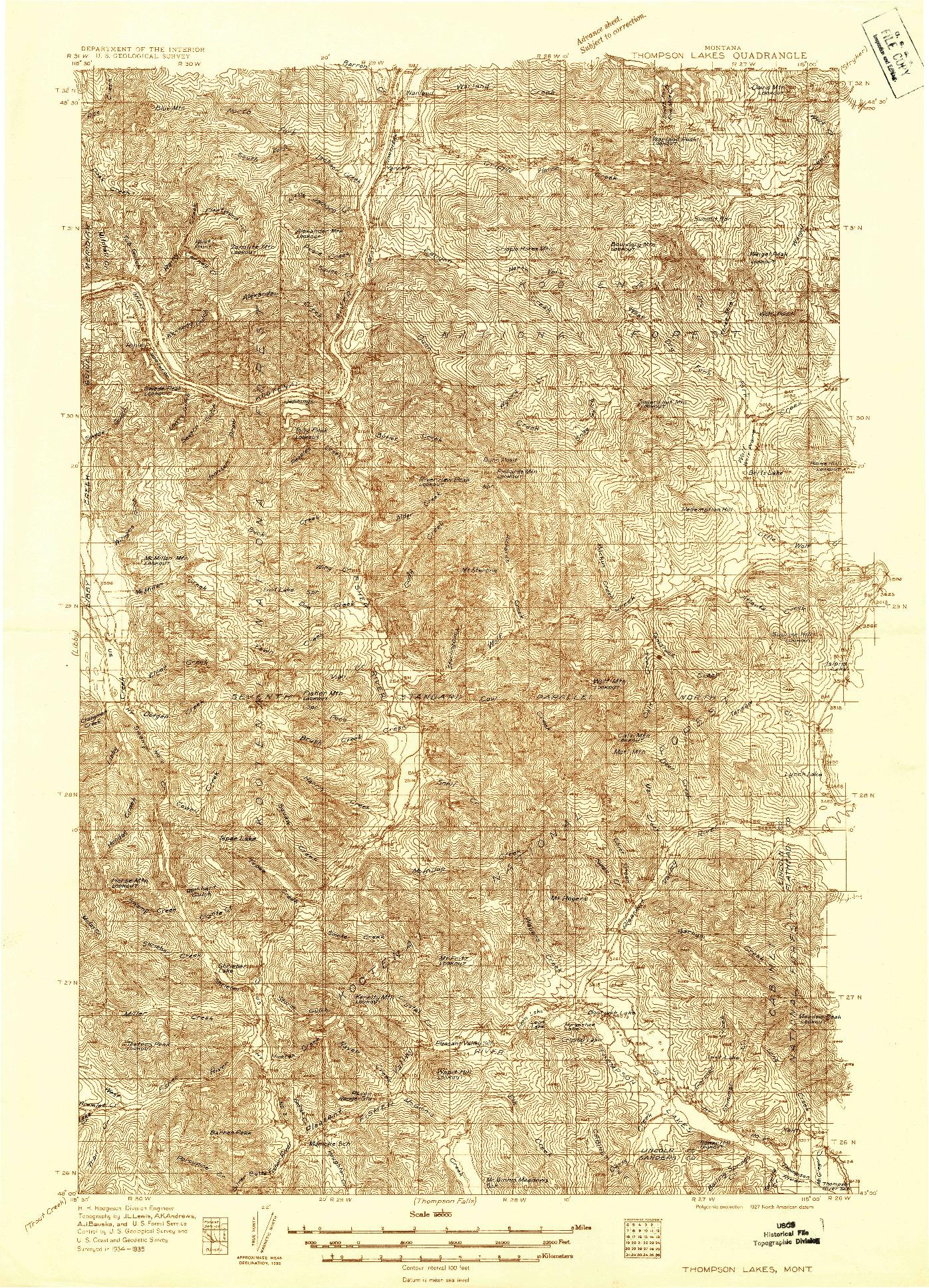 USGS 1:96000-SCALE QUADRANGLE FOR THOMPSON LAKES, MT 1935