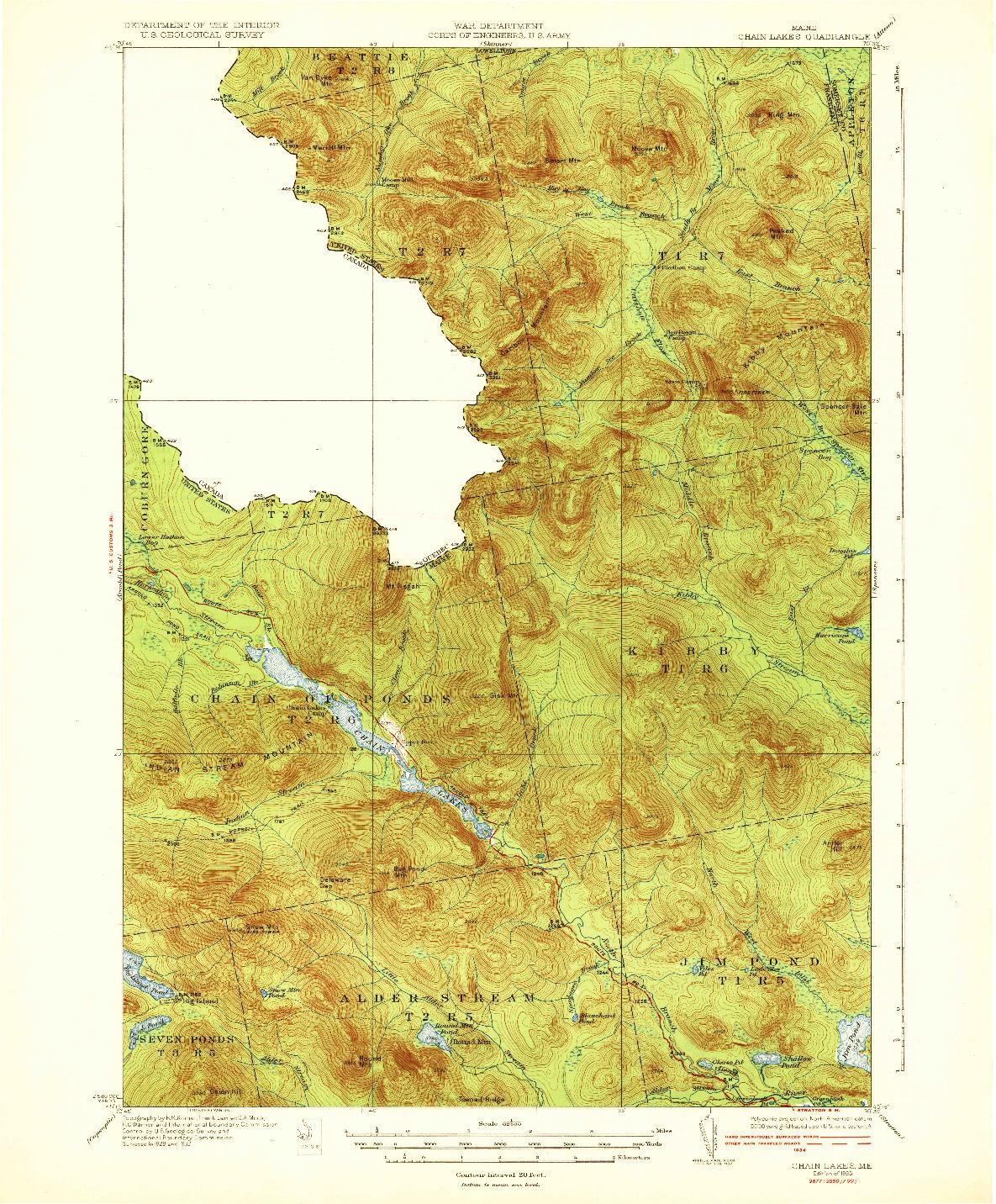 USGS 1:62500-SCALE QUADRANGLE FOR CHAIN LAKES, ME 1935