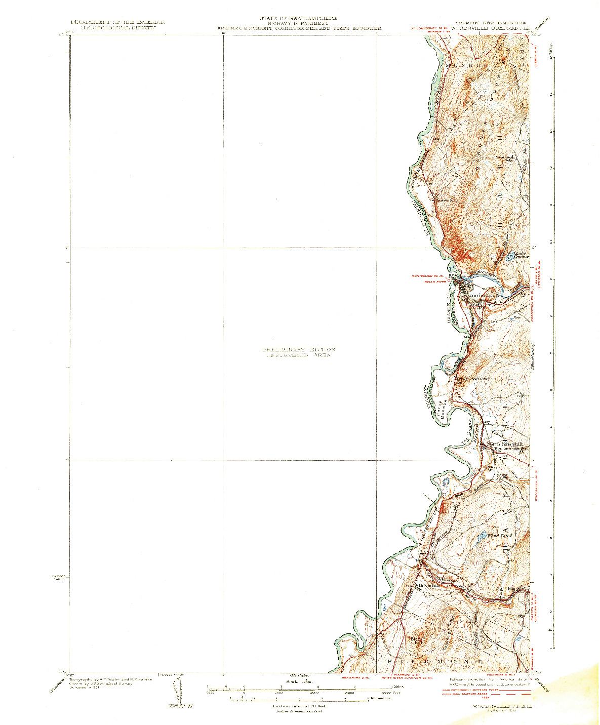 USGS 1:62500-SCALE QUADRANGLE FOR WOODSVILLE, VT 1935
