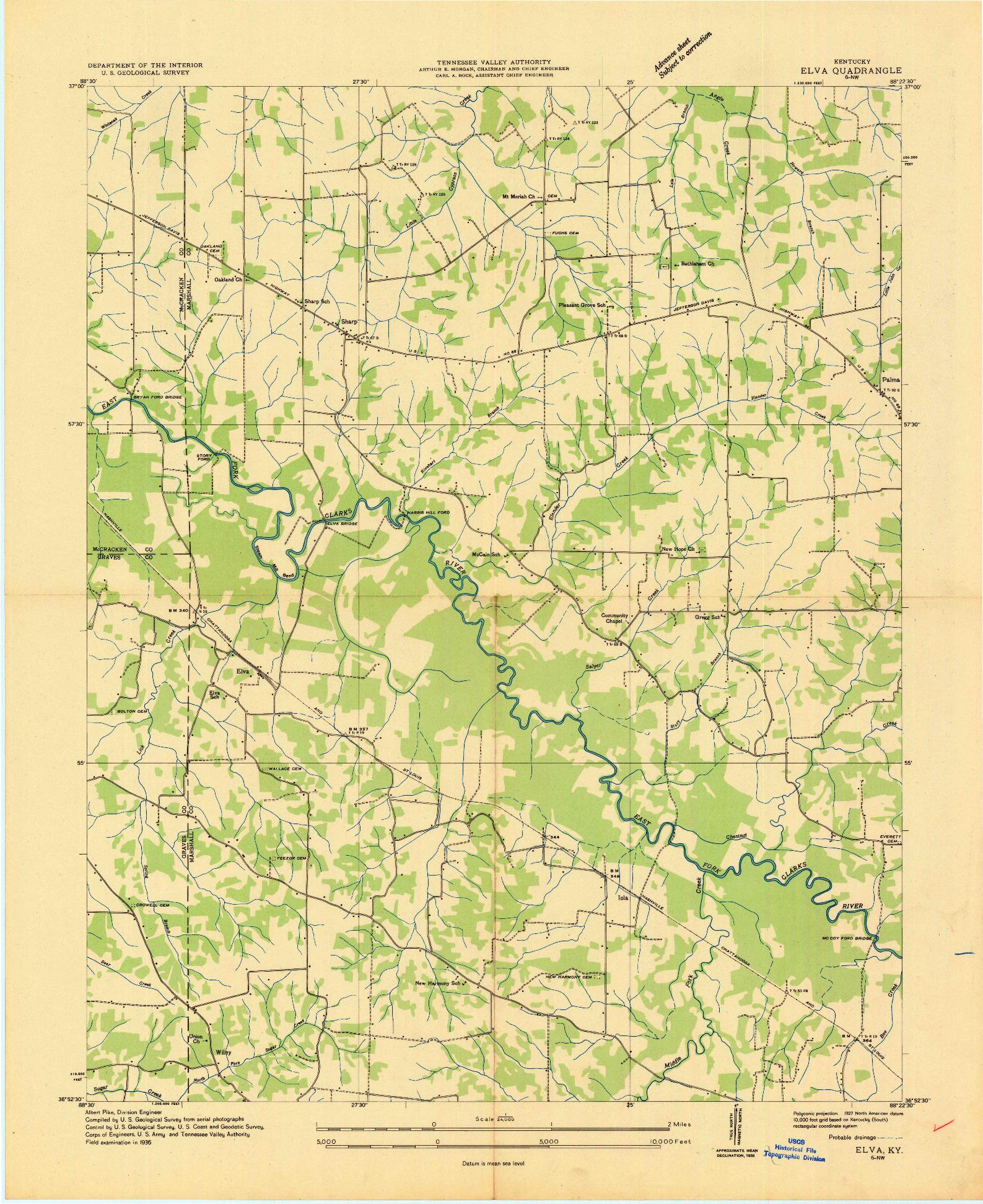 USGS 1:24000-SCALE QUADRANGLE FOR ELVA, KY 1936