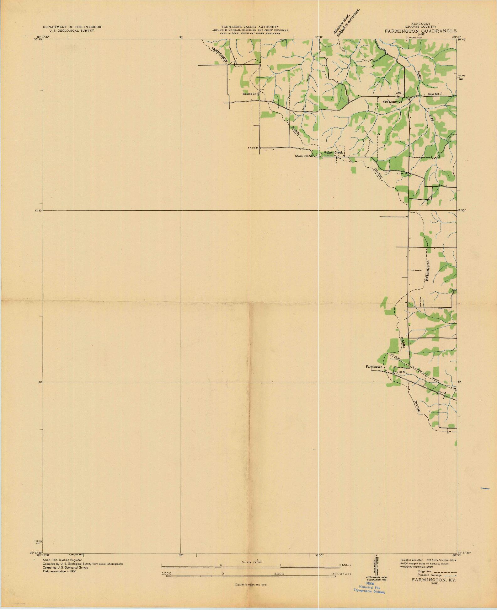 USGS 1:24000-SCALE QUADRANGLE FOR FARMINGTON, KY 1936