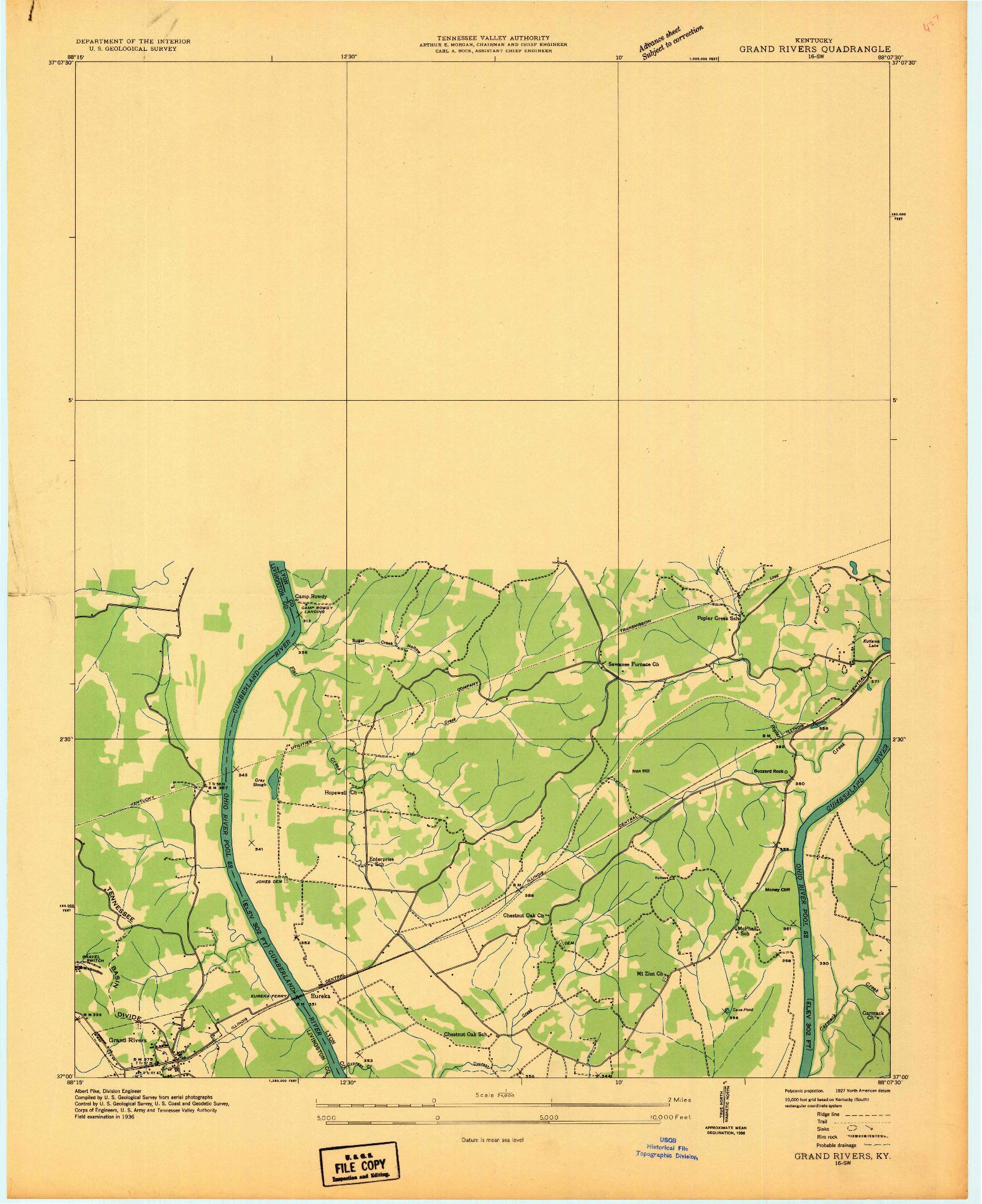 USGS 1:24000-SCALE QUADRANGLE FOR GRAND RIVERS, KY 1936
