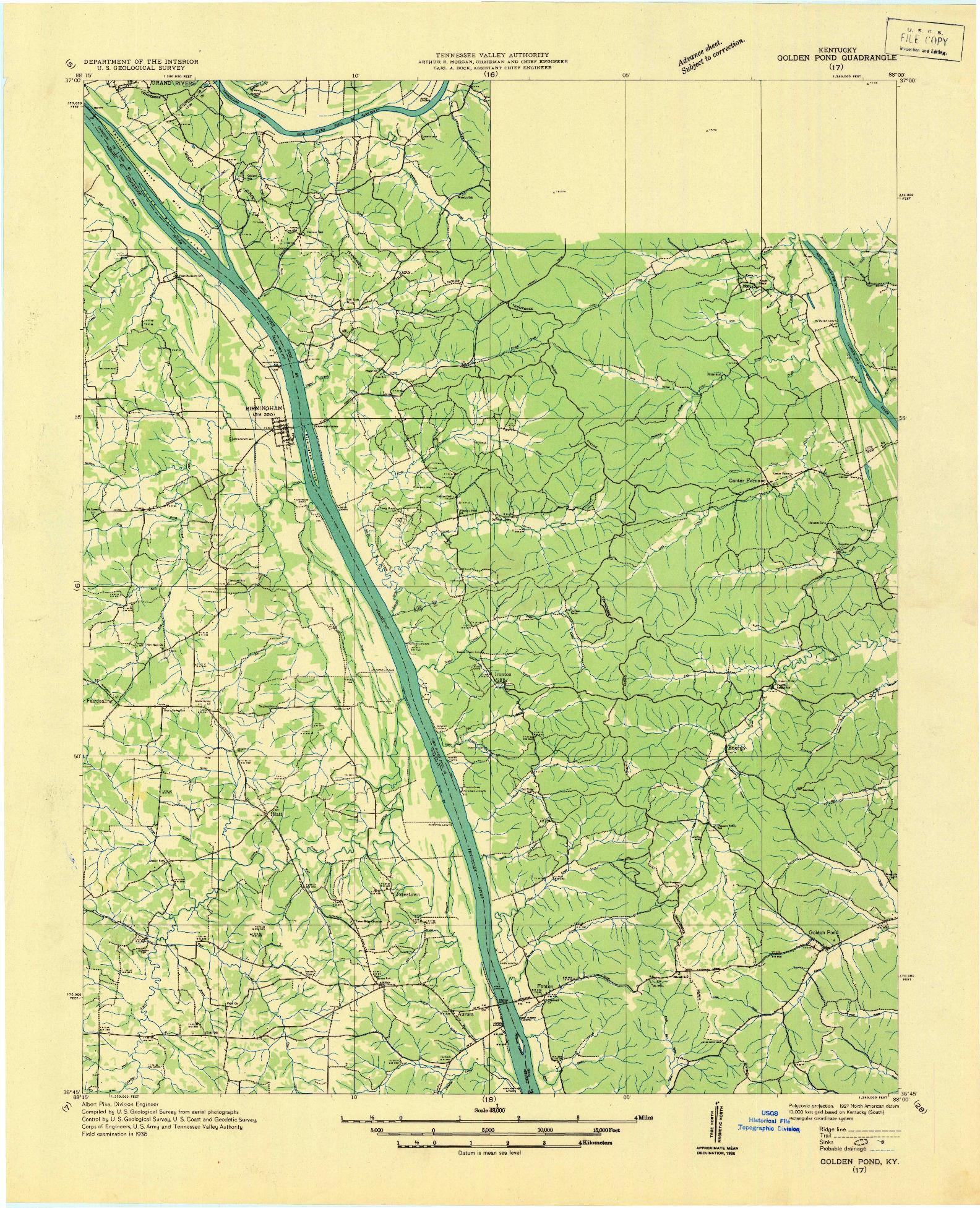 USGS 1:48000-SCALE QUADRANGLE FOR GOLDEN POND, KY 1936