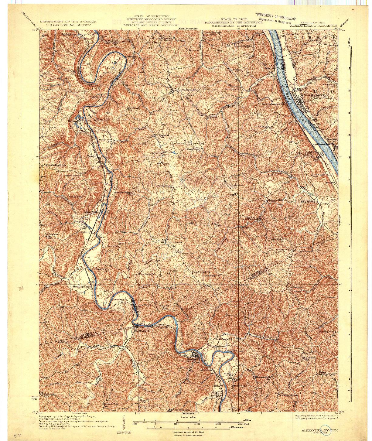 USGS 1:62500-SCALE QUADRANGLE FOR ALEXANDRIA, KY 1936