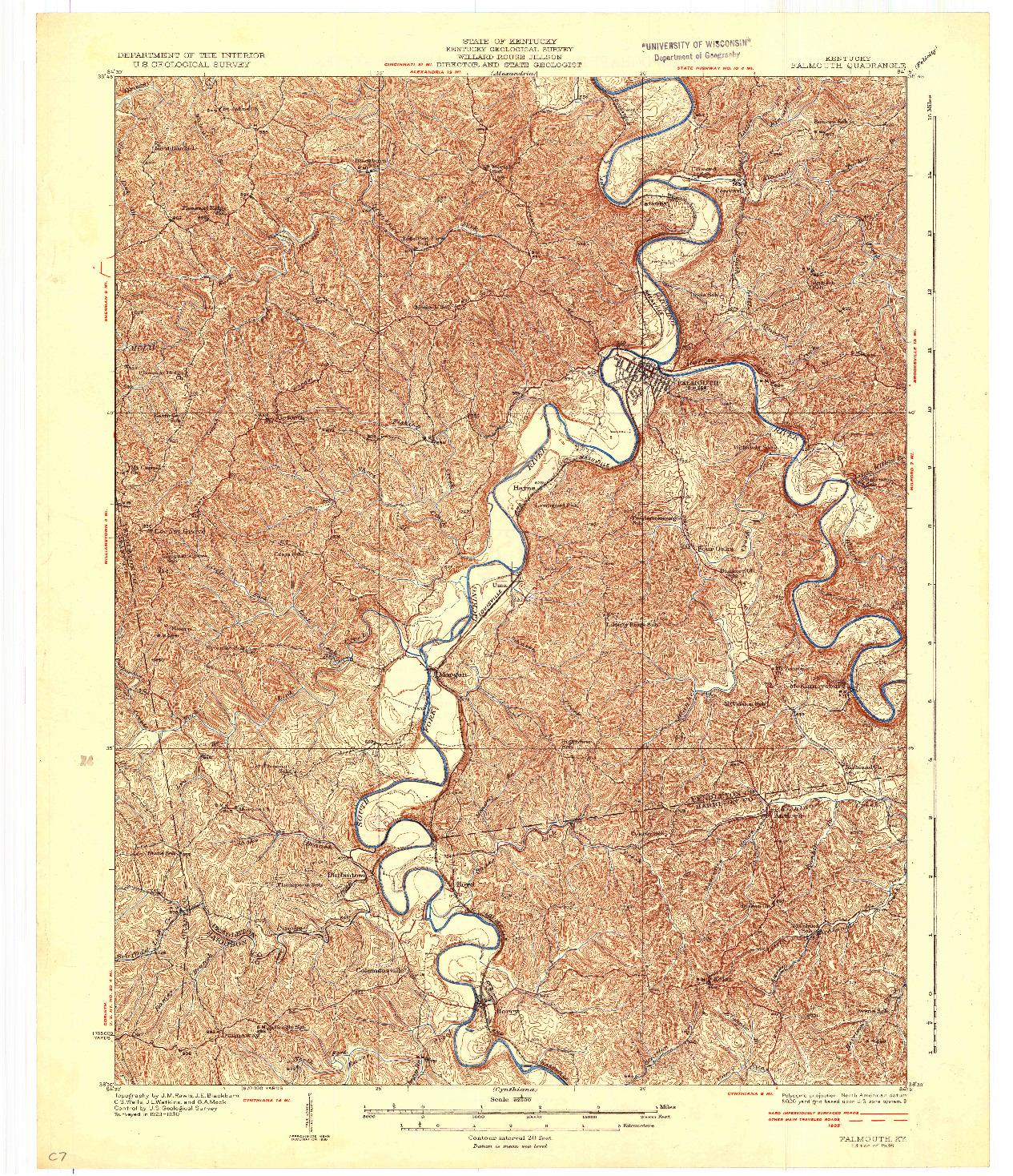 USGS 1:62500-SCALE QUADRANGLE FOR FALMOUTH, KY 1936