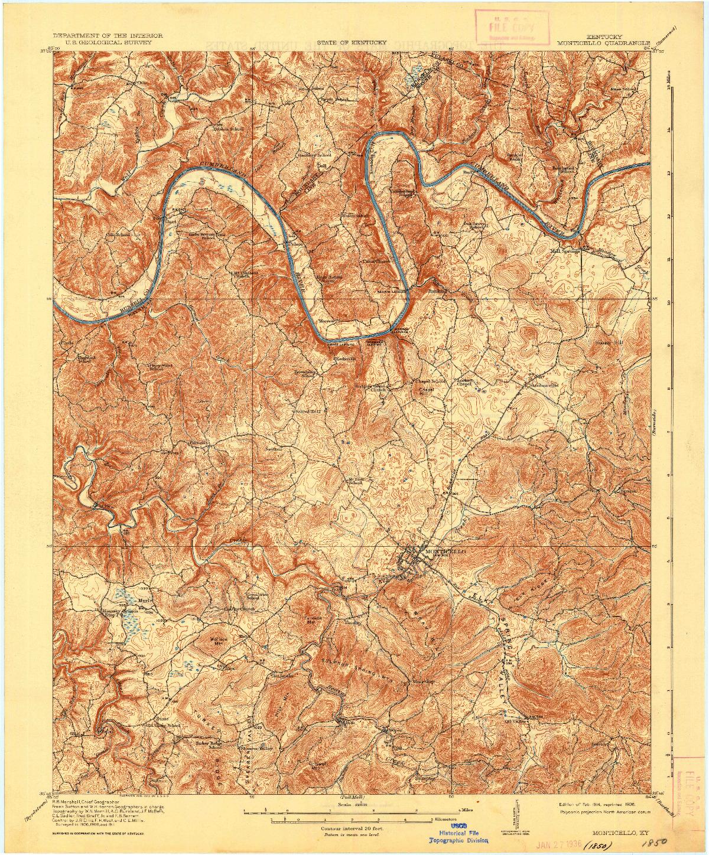 USGS 1:62500-SCALE QUADRANGLE FOR MONTICELLO, KY 1914