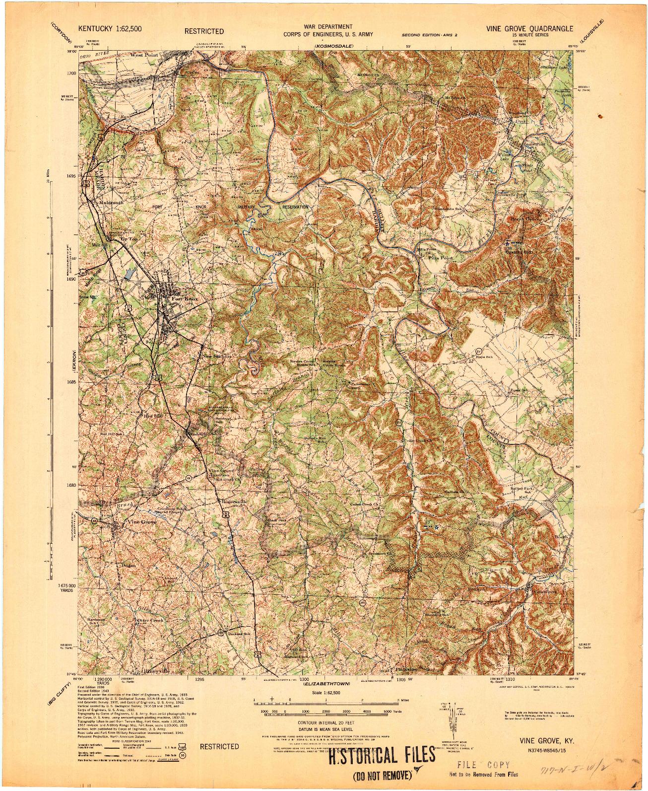 USGS 1:62500-SCALE QUADRANGLE FOR VINE GROVE, KY 1936