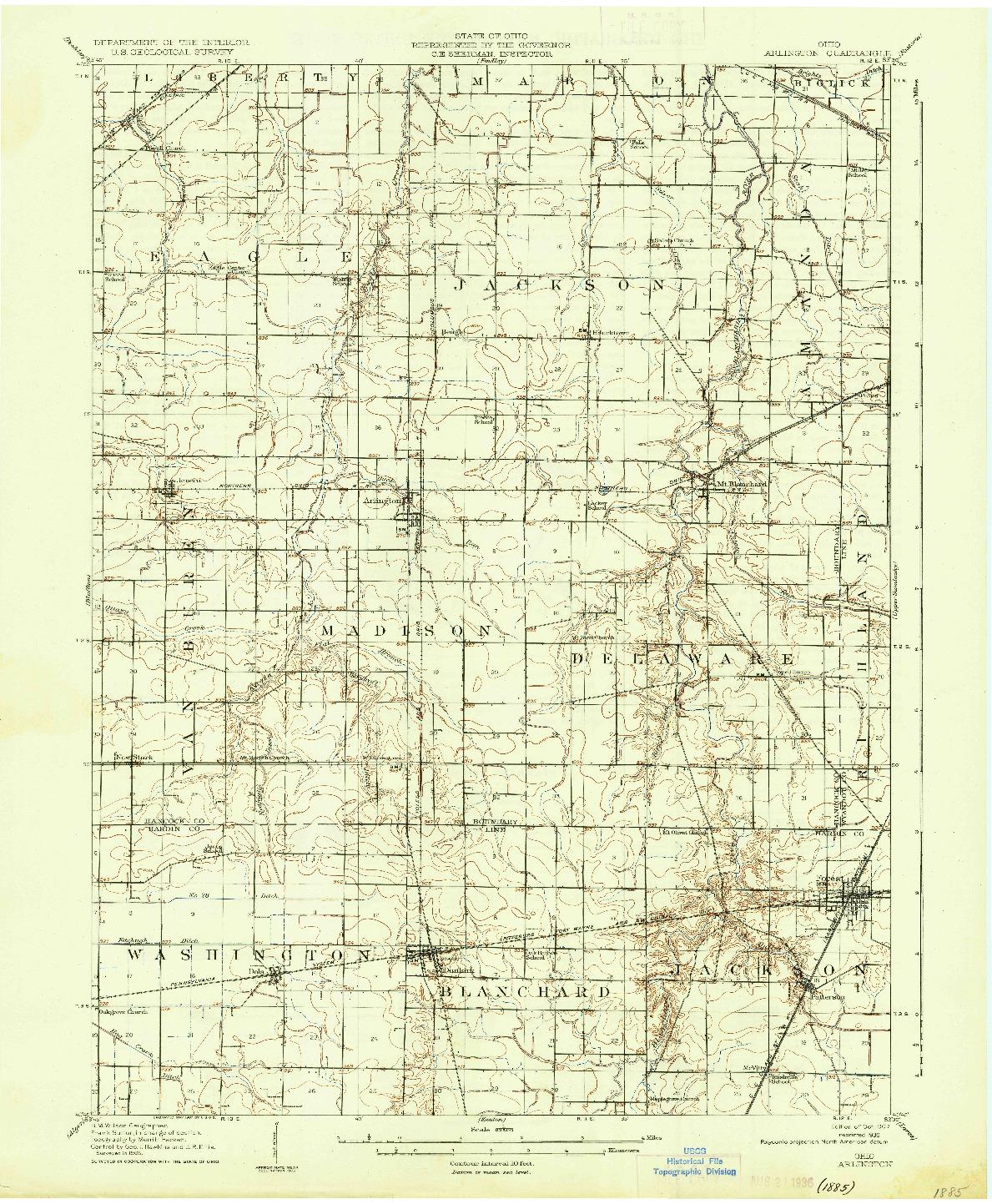USGS 1:62500-SCALE QUADRANGLE FOR ARLINGTON, OH 1907