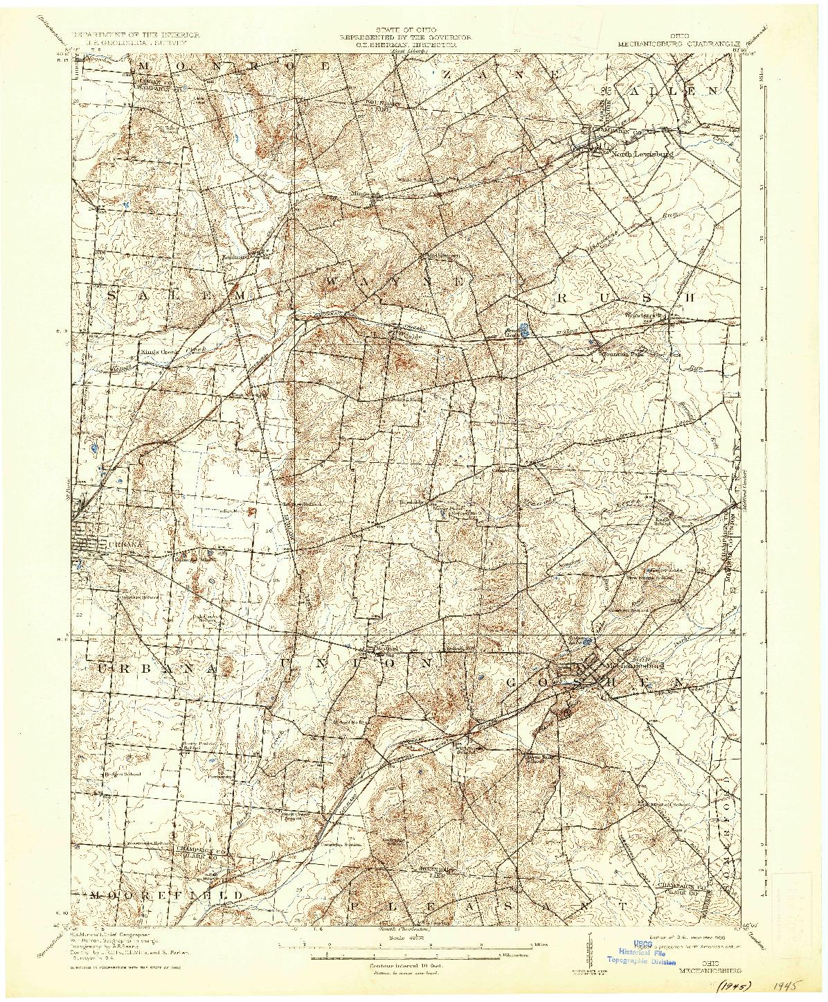 USGS 1:62500-SCALE QUADRANGLE FOR MECHANICSBURG, OH 1916