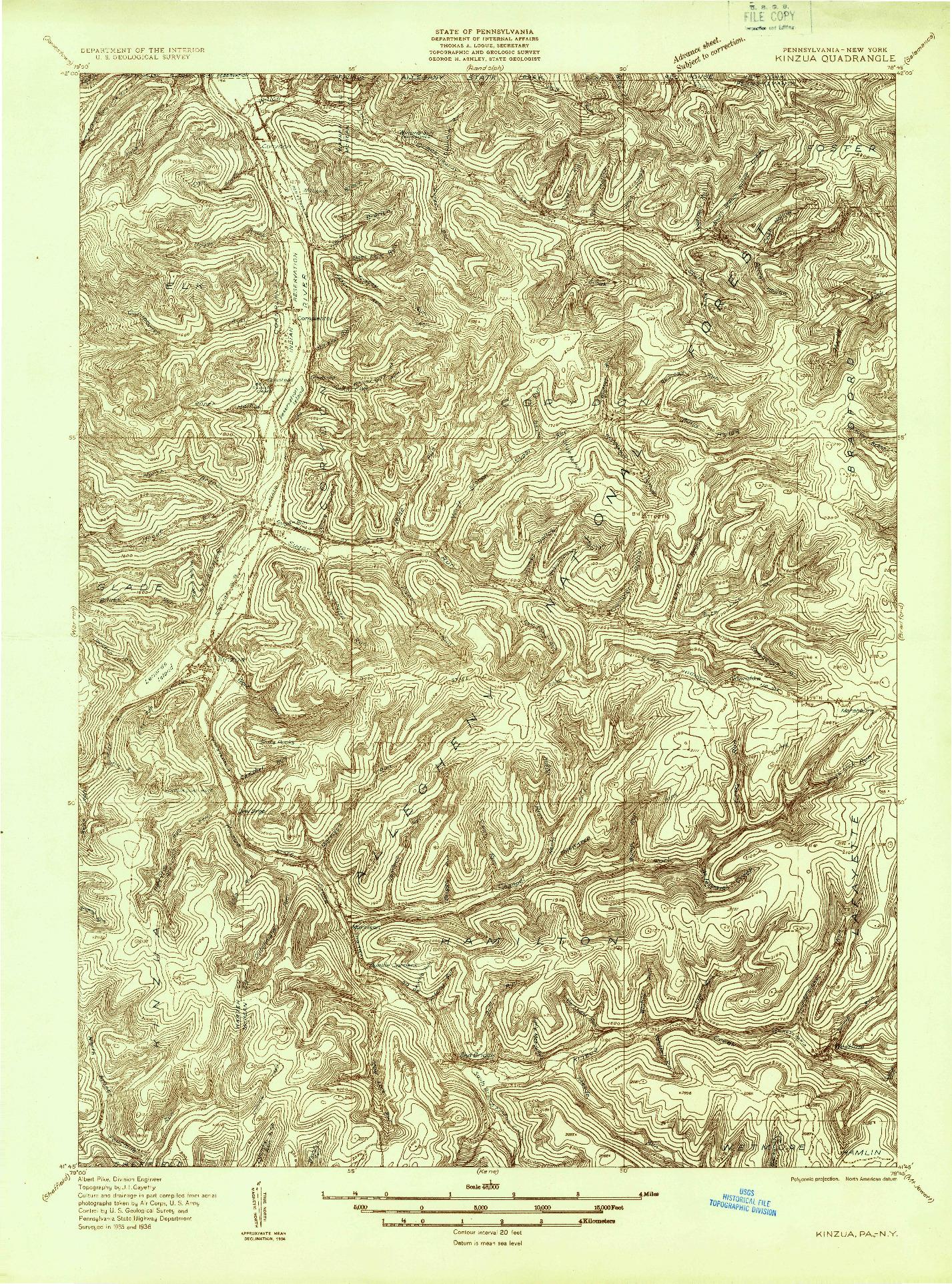 USGS 1:48000-SCALE QUADRANGLE FOR KINZUA, PA 1936