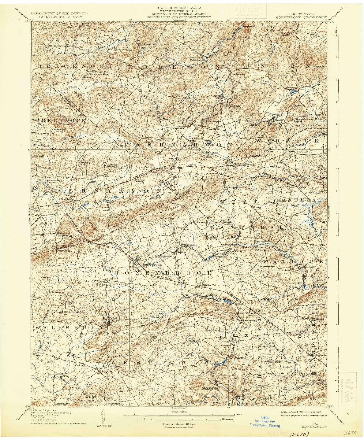 USGS 1:62500-SCALE QUADRANGLE FOR HONEYBROOK, PA 1907