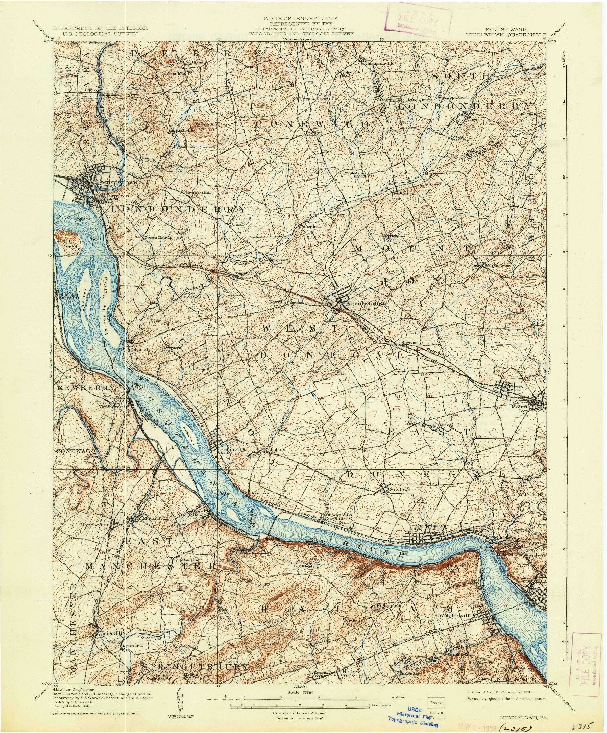 USGS 1:62500-SCALE QUADRANGLE FOR MIDDLETOWN, PA 1908