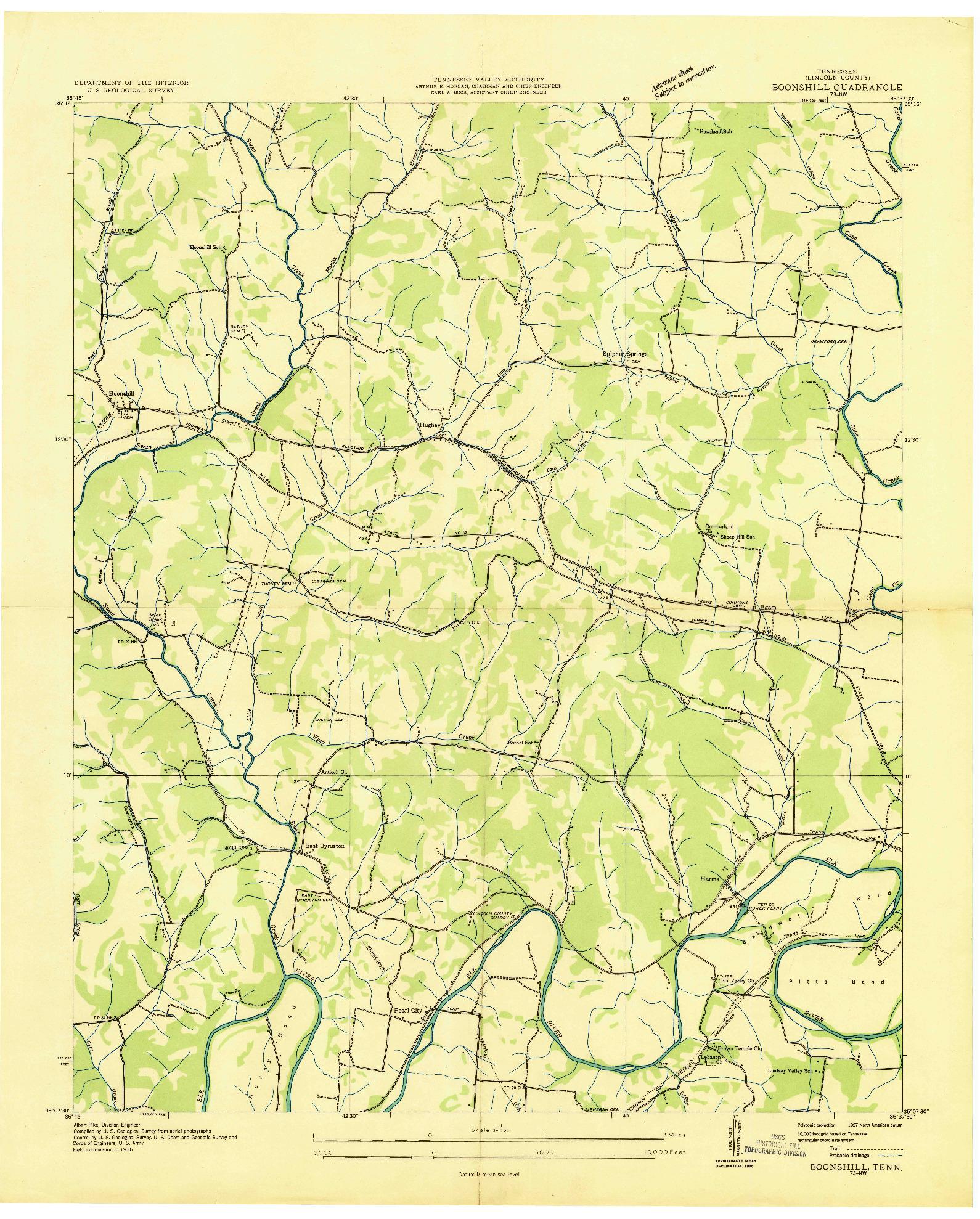 USGS 1:24000-SCALE QUADRANGLE FOR BOONSHILL, TN 1936