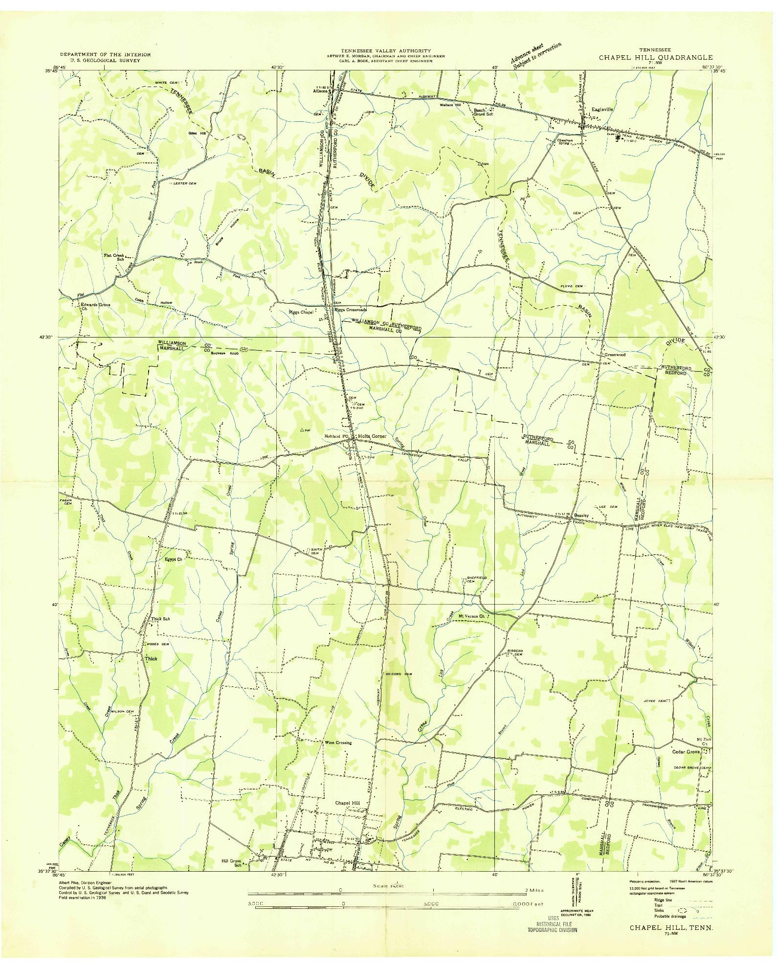 USGS 1:24000-SCALE QUADRANGLE FOR CHAPEL HILL, TN 1936