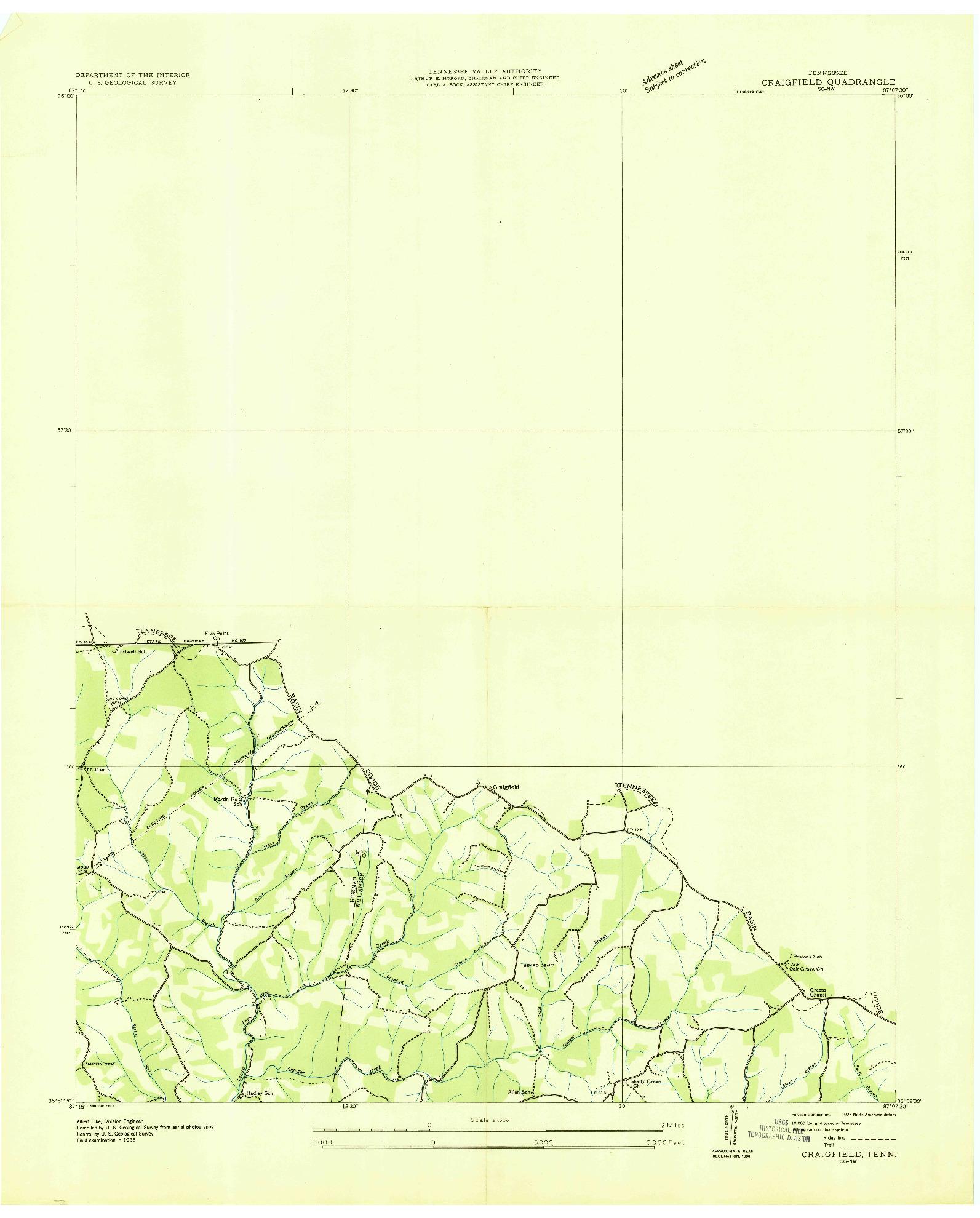 USGS 1:24000-SCALE QUADRANGLE FOR CRAIGFIELD, TN 1936