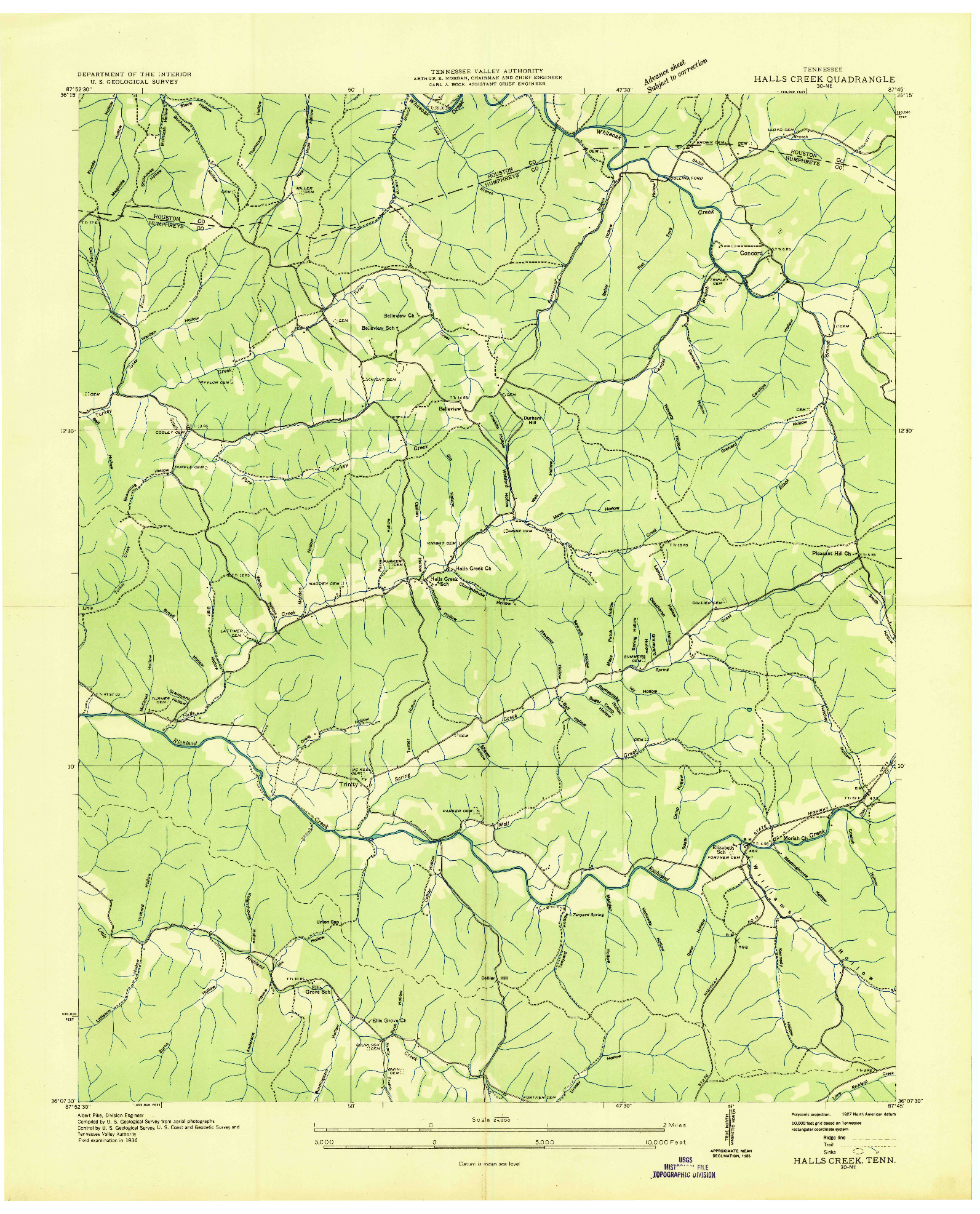 USGS 1:24000-SCALE QUADRANGLE FOR HALLS CREEK, TN 1936