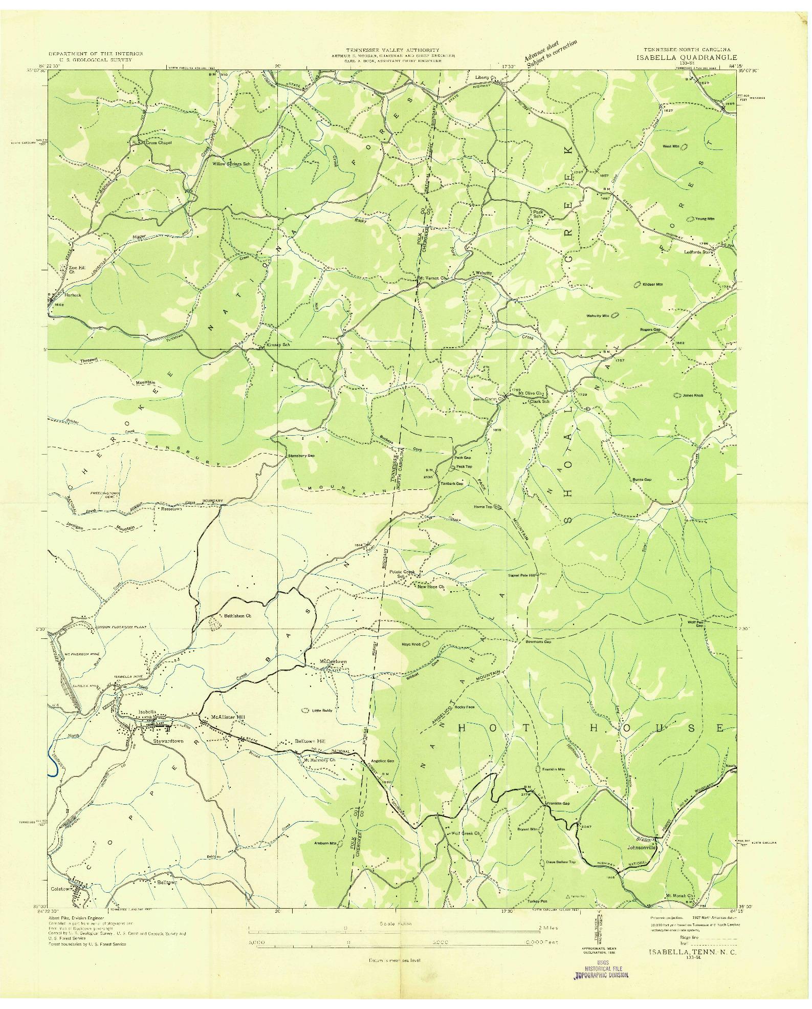 USGS 1:24000-SCALE QUADRANGLE FOR ISABELLA, TN 1936