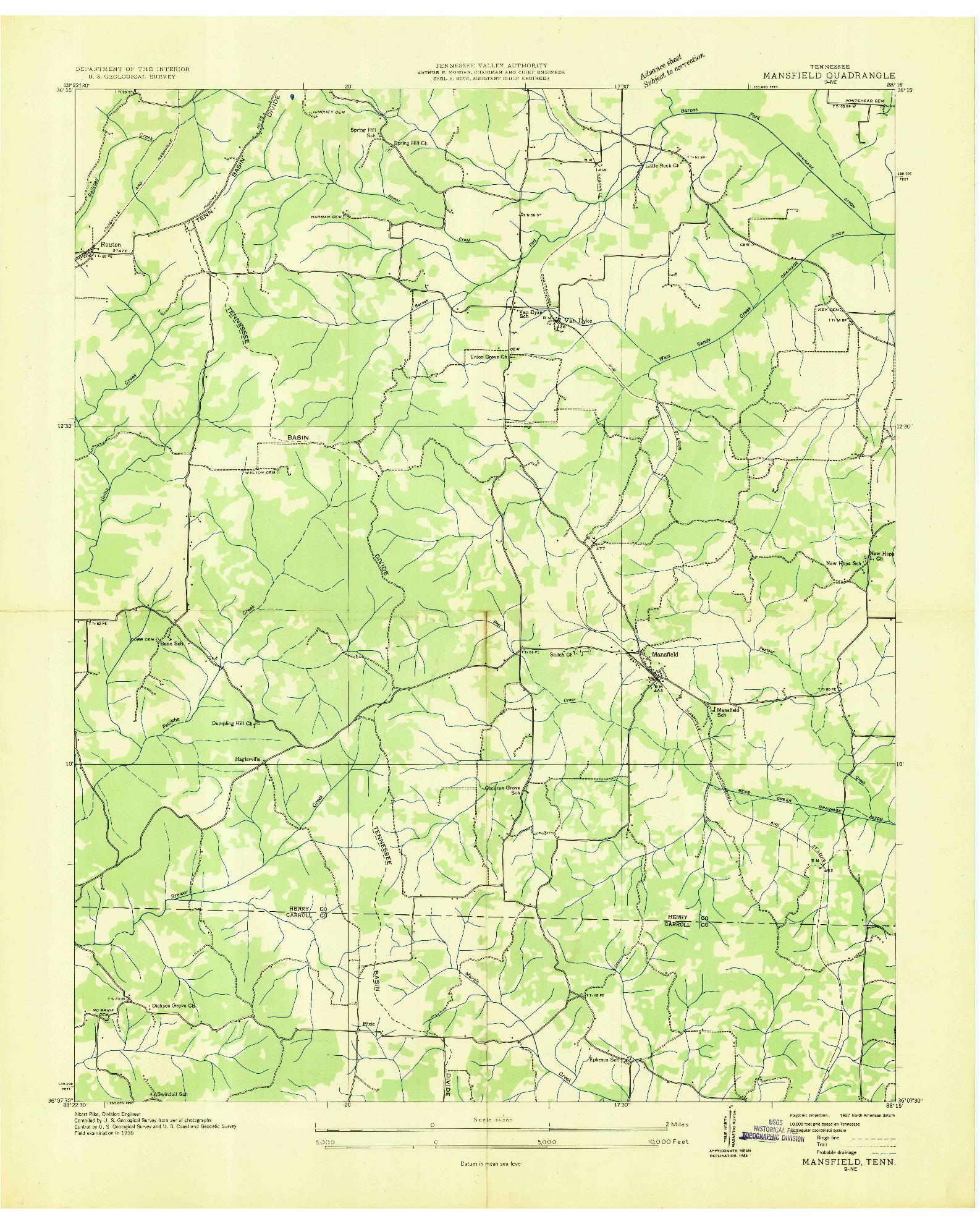 USGS 1:24000-SCALE QUADRANGLE FOR MANSFIELD, TN 1936