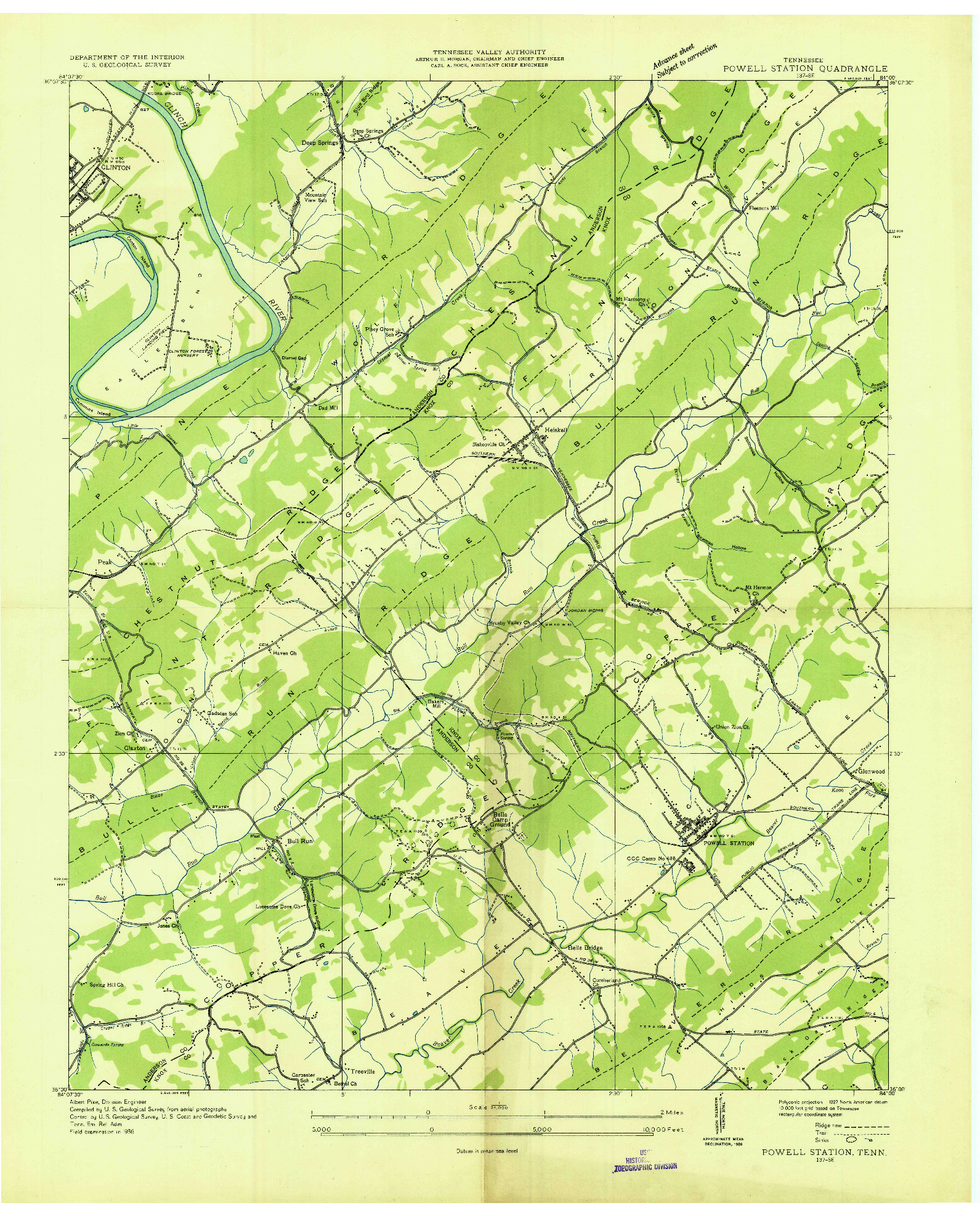 USGS 1:24000-SCALE QUADRANGLE FOR POWELL STATION, TN 1936
