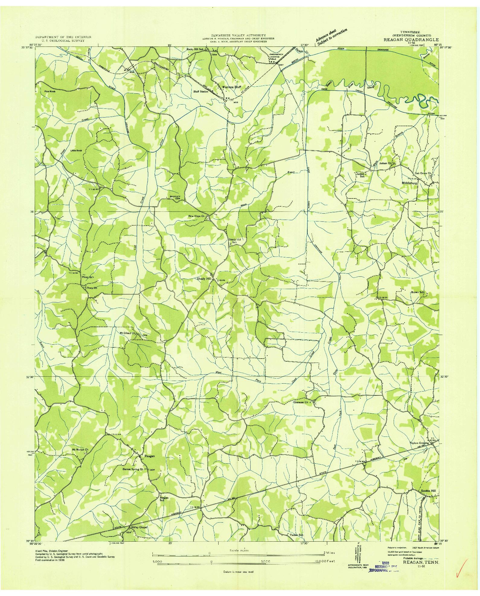 USGS 1:24000-SCALE QUADRANGLE FOR REAGAN, TN 1936