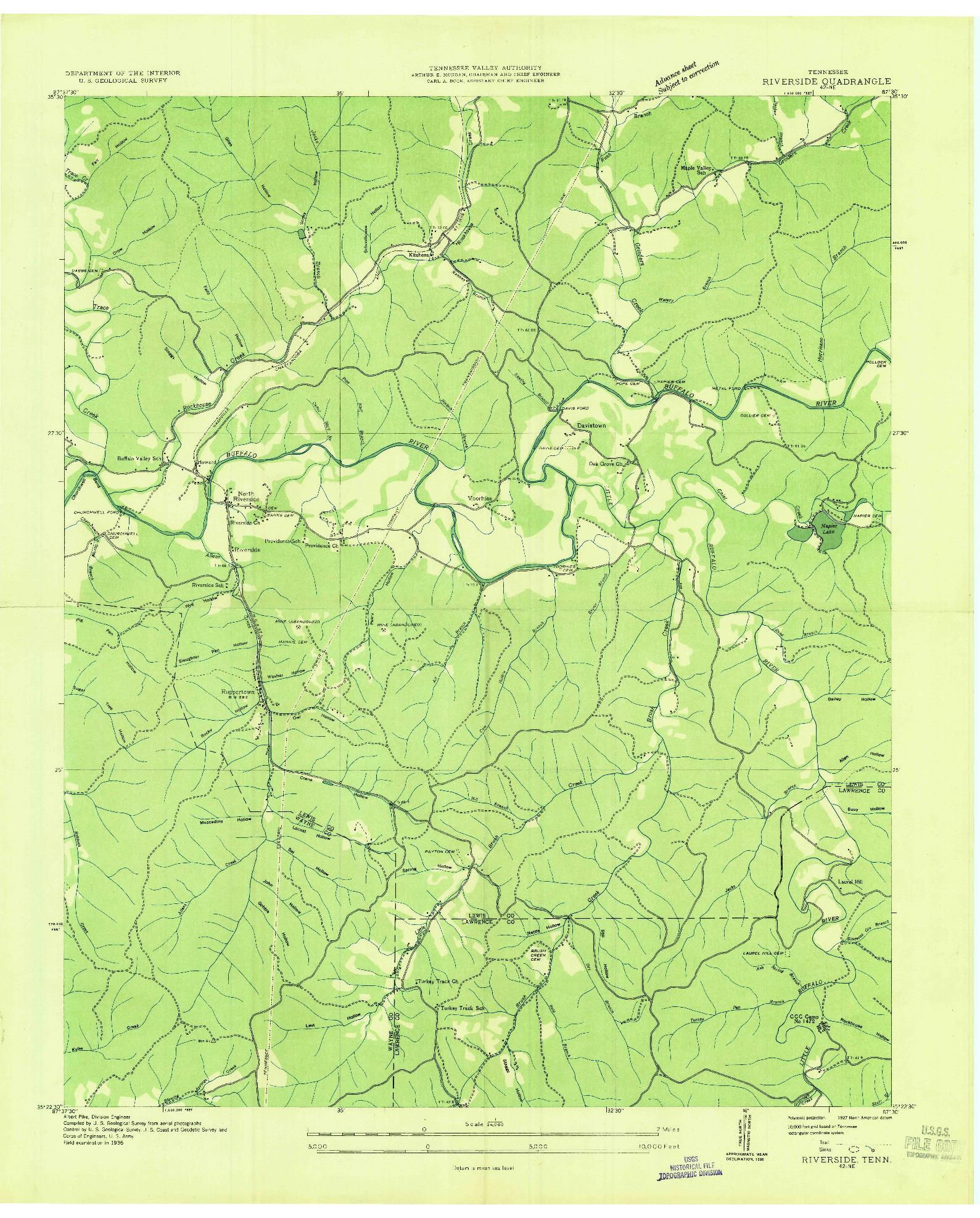 USGS 1:24000-SCALE QUADRANGLE FOR RIVERSIDE, TN 1936