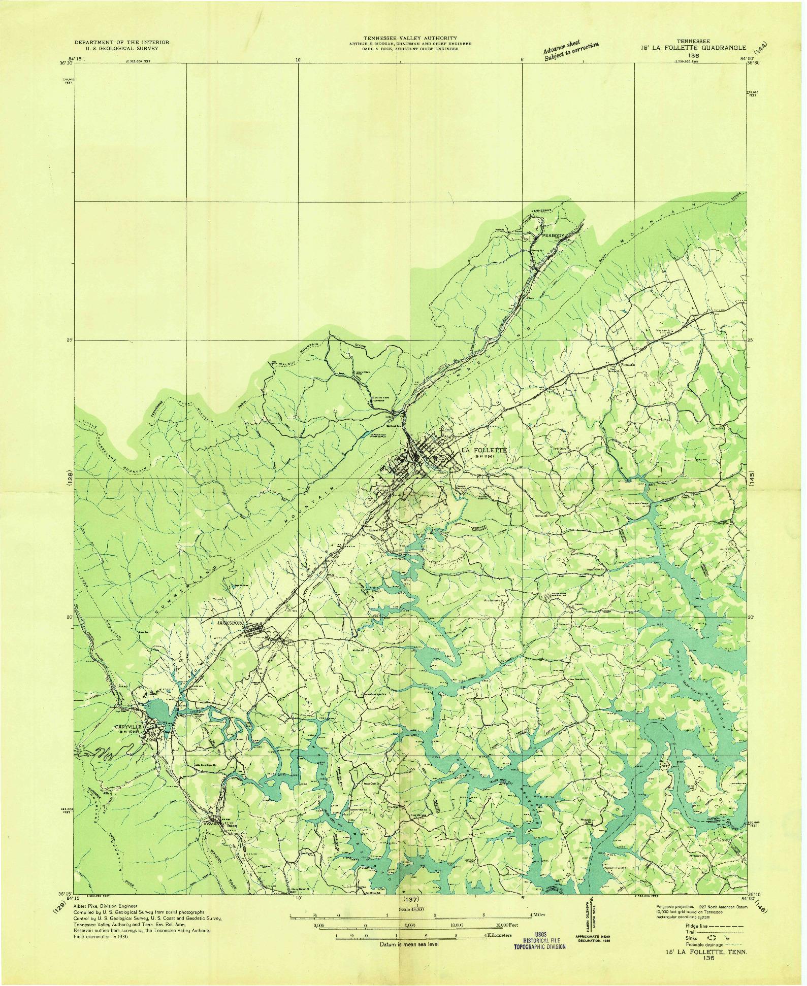 USGS 1:48000-SCALE QUADRANGLE FOR LA FOLLETTE, TN 1936
