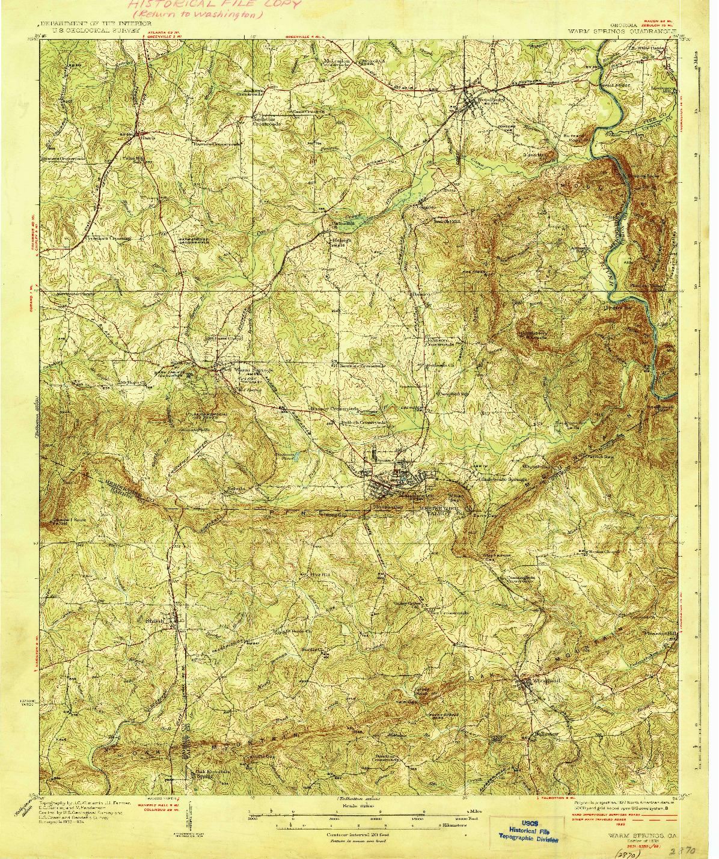 USGS 1:62500-SCALE QUADRANGLE FOR WARM SPRINGS, GA 1936