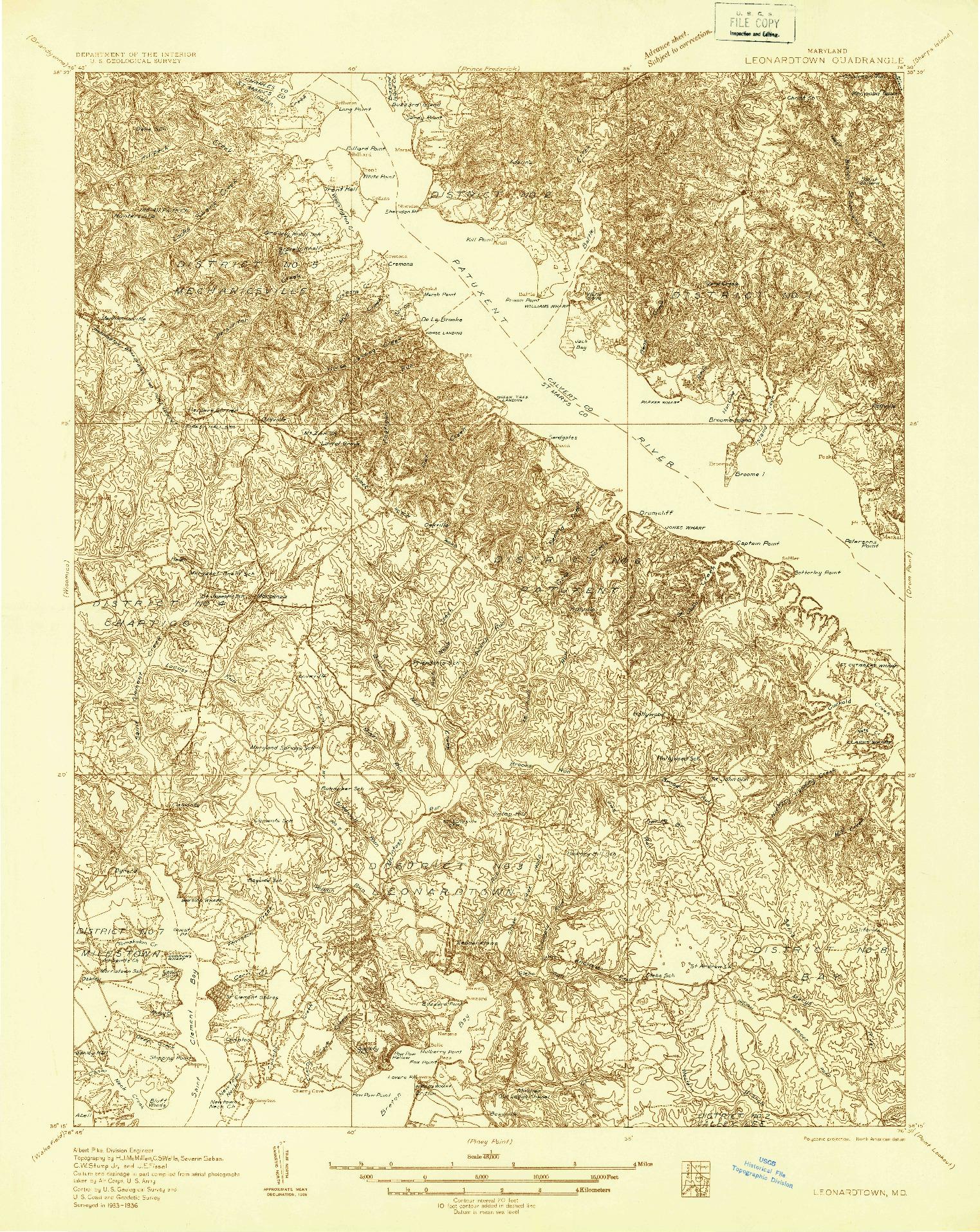 USGS 1:48000-SCALE QUADRANGLE FOR LEONARDTOWN, MD 1936
