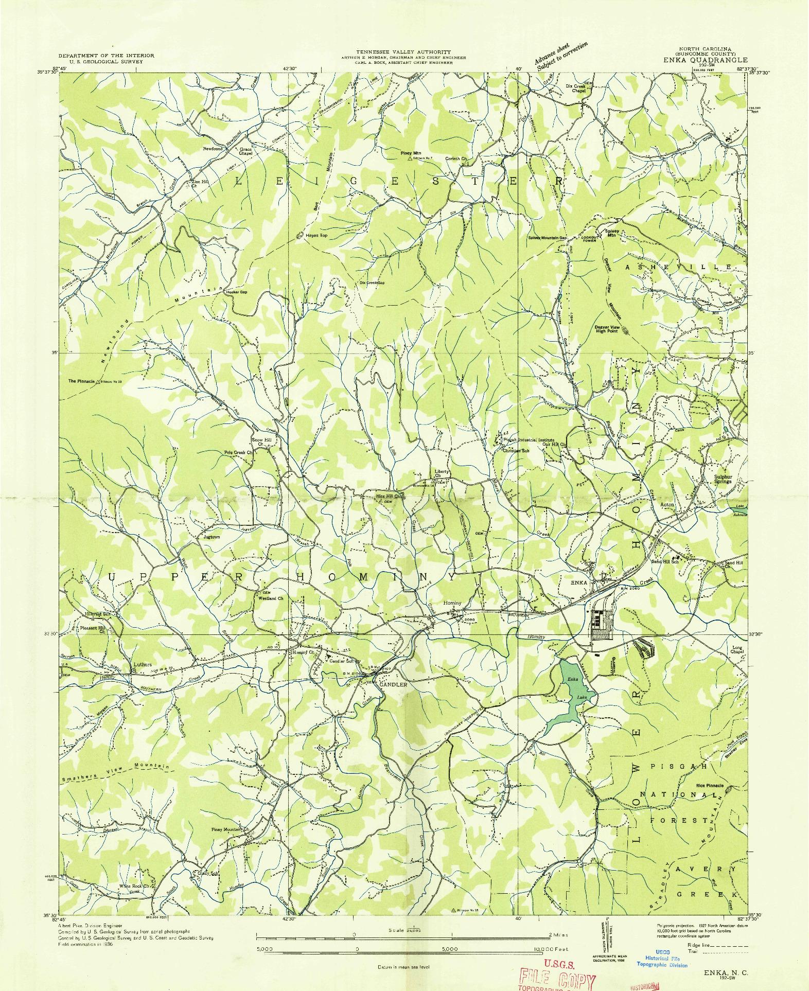 USGS 1:24000-SCALE QUADRANGLE FOR ENKA, NC 1936