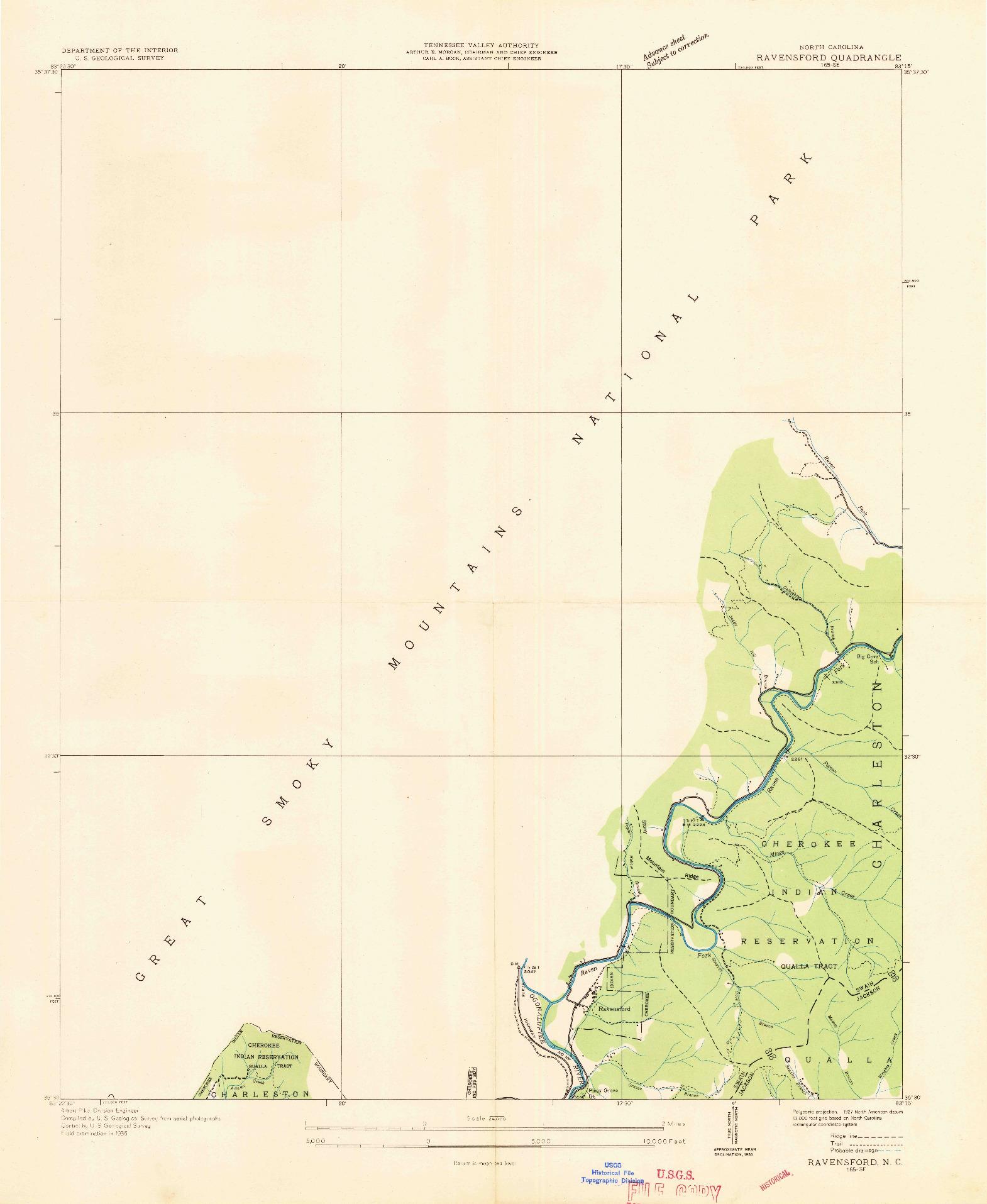 USGS 1:24000-SCALE QUADRANGLE FOR RAVENSFORD, NC 1936