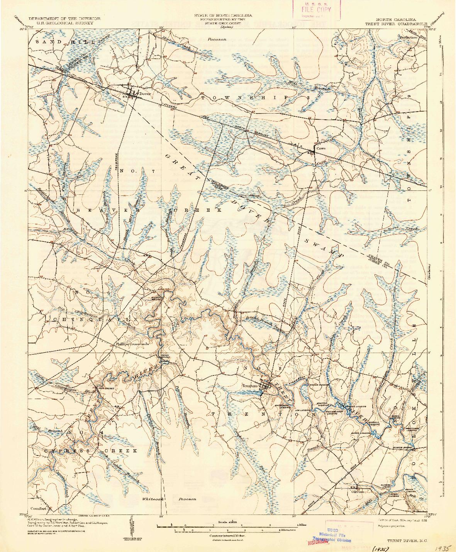 USGS 1:62500-SCALE QUADRANGLE FOR TRENT RIVER, NC 1904